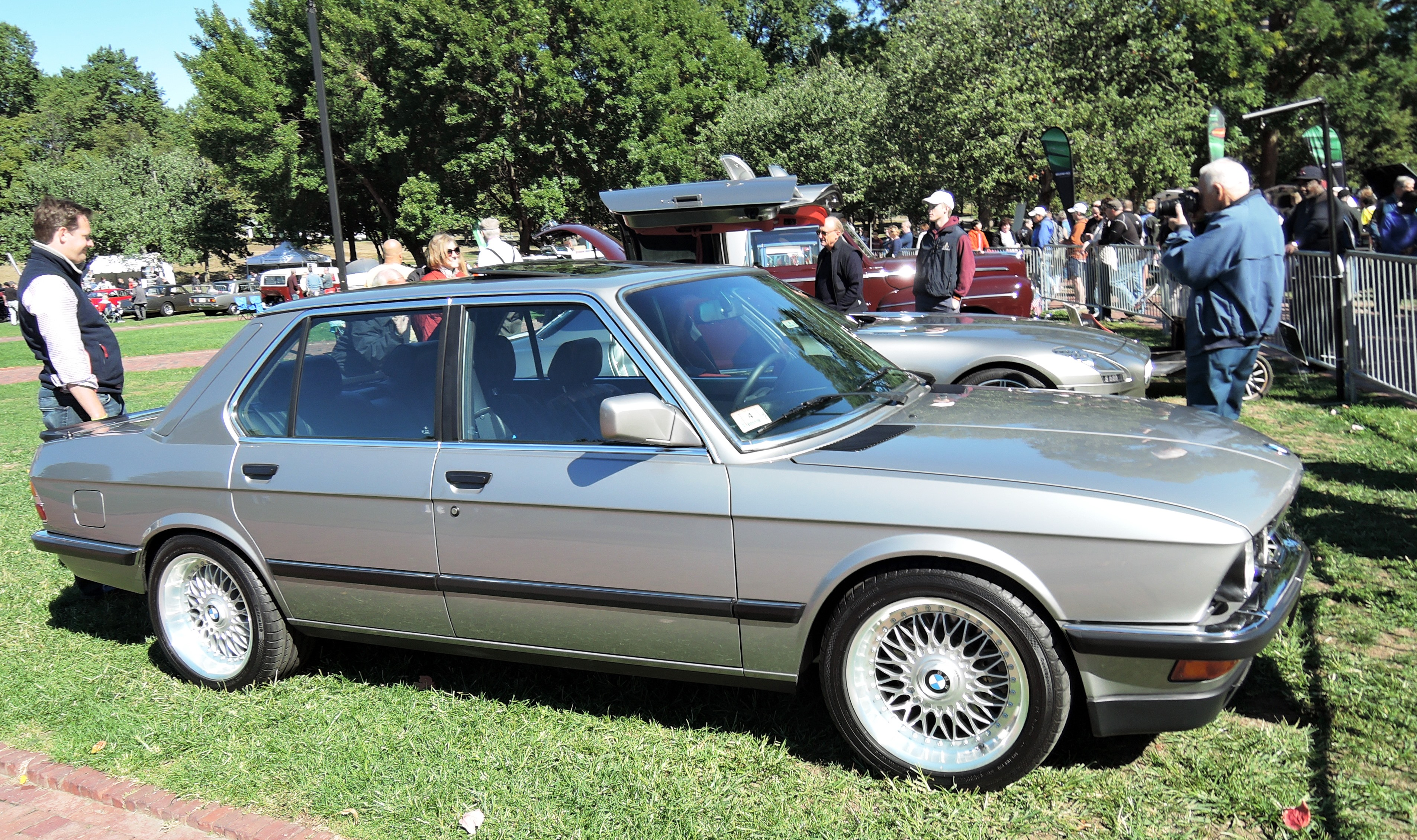 silver 1987 BMW M535i - The Boston Cup on Boston Common