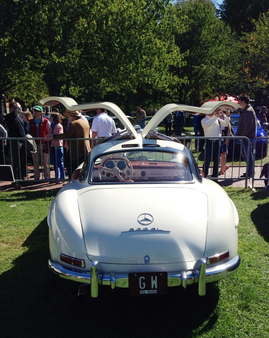 white 1955 Mercedes-Benz 300 SL Gullwing - The Boston Cup on Boston Common