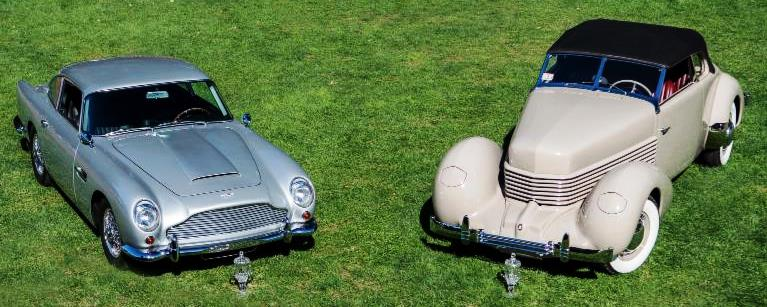 1965 Aston Martin DB5 and 1936 Cord 810 - The Boston Cup on Boston Common