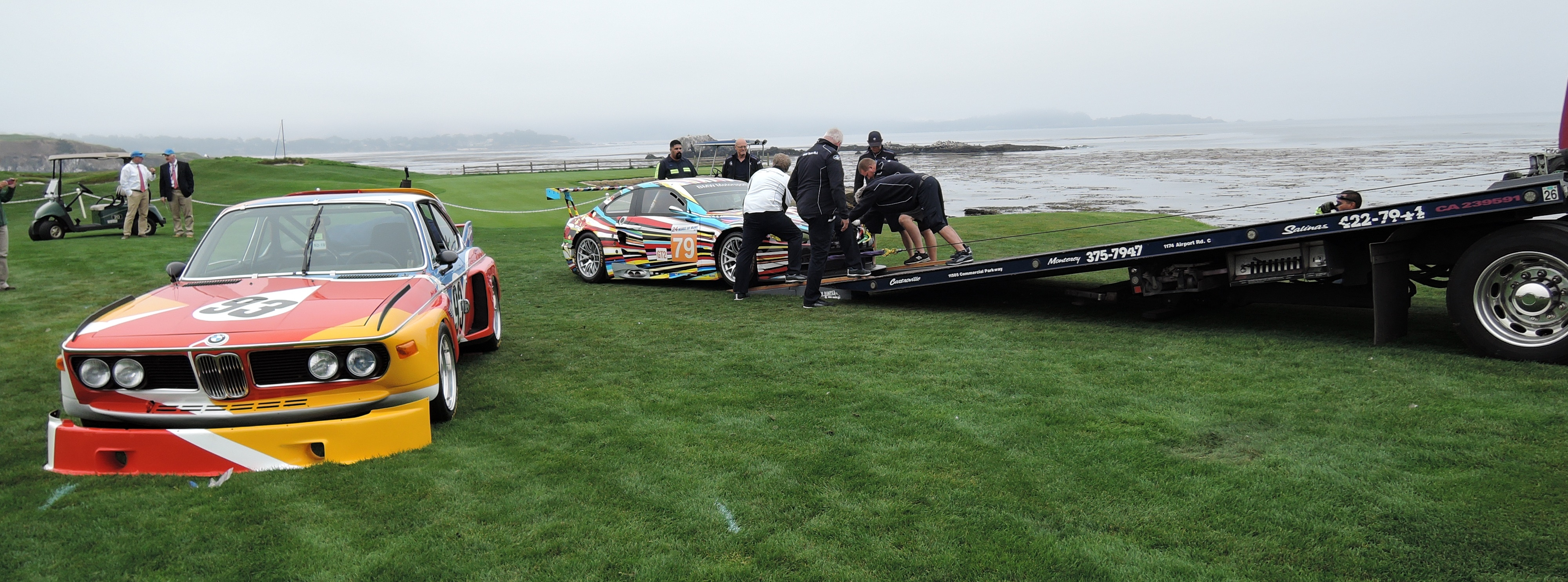 BMWs unloading at Pebble Beach Concours d'Elegance 2016