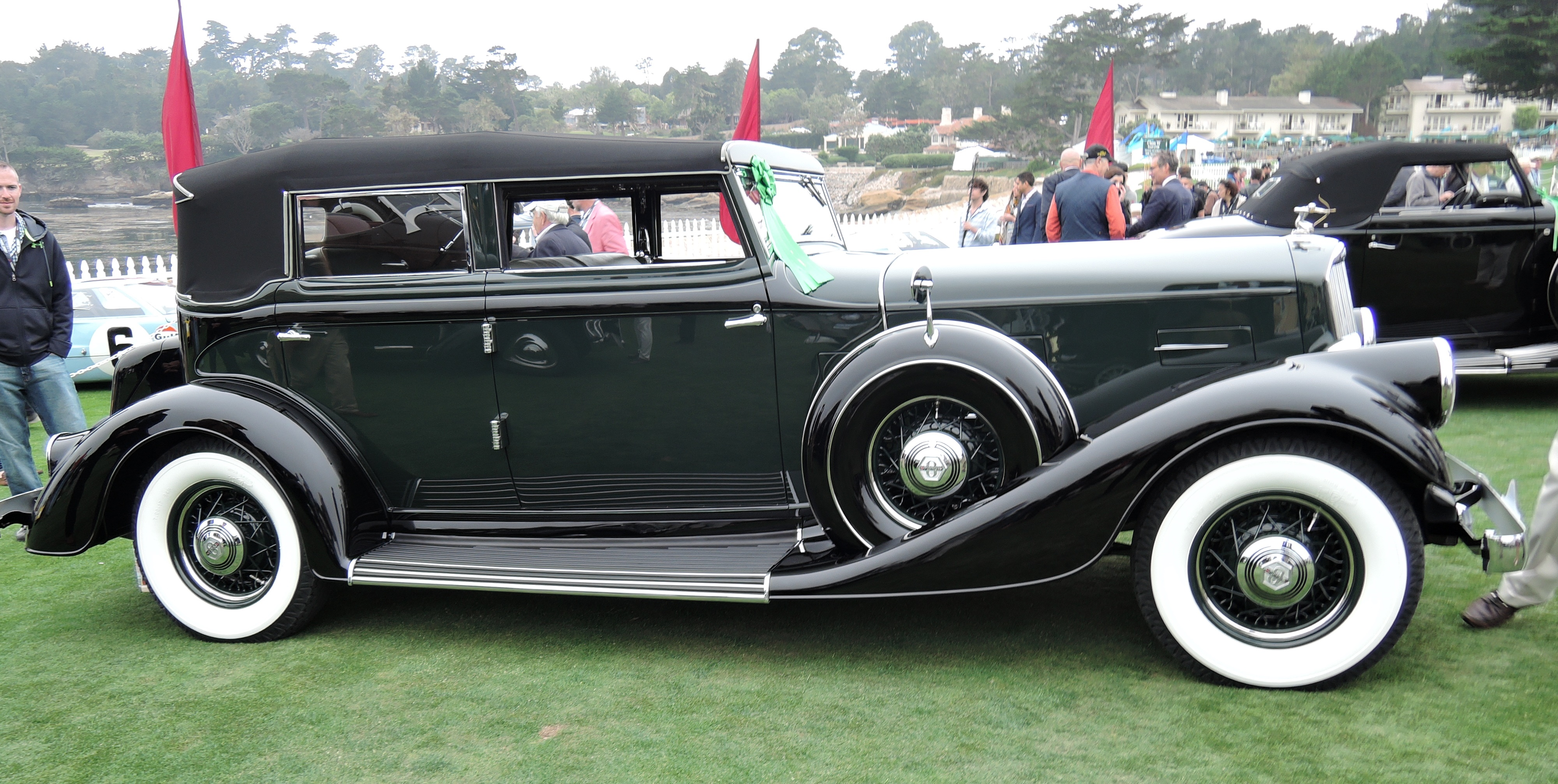 green/black 1934 Pierce Arrow 840A LeBaron Convertible Sedan - Pebble Beach Concours d'Elegance 2016