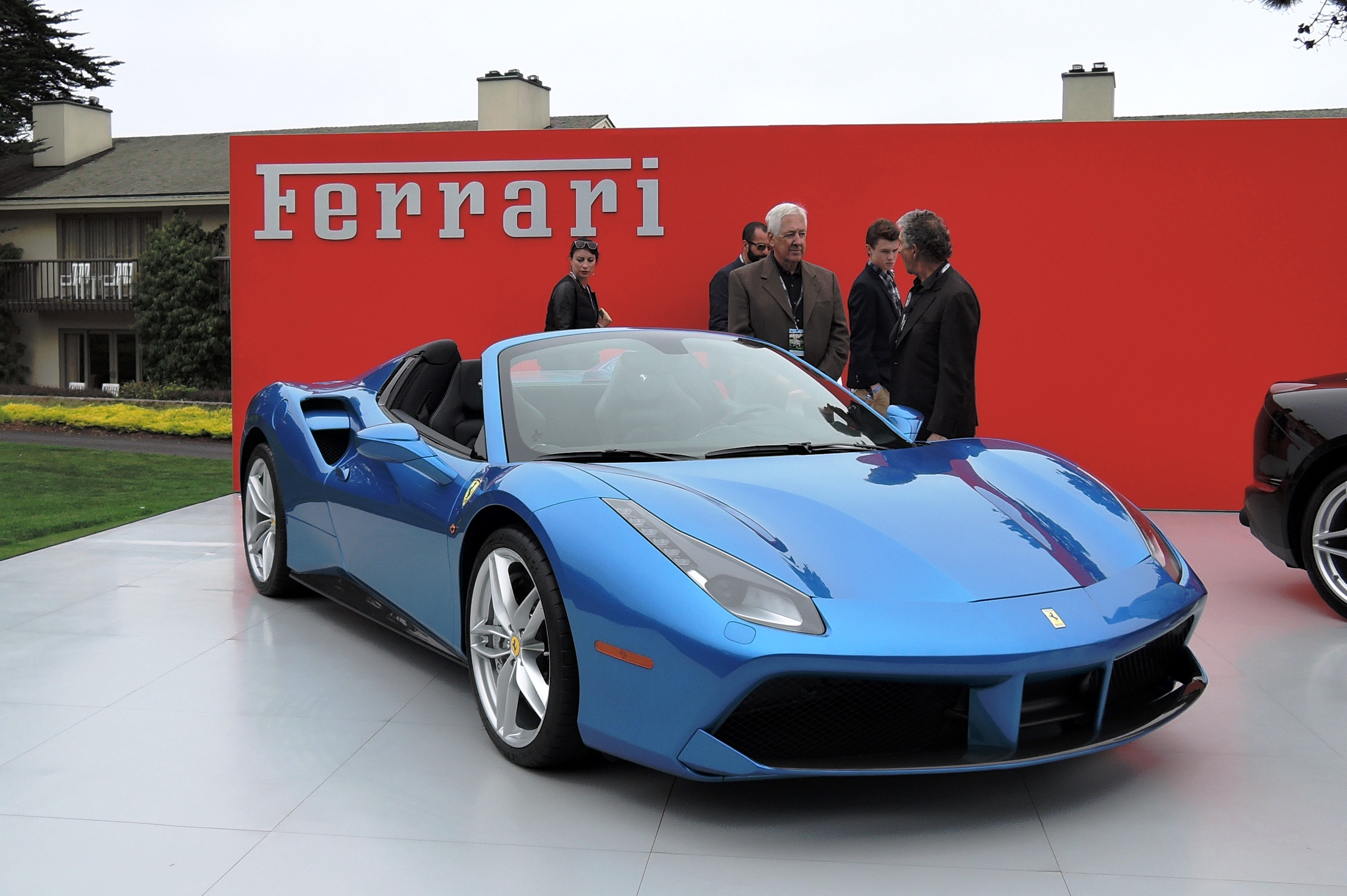 FNA display Ferrari 488 Spyder in Blu Corsa - Pebble Beach Concours d'Elegance 2016