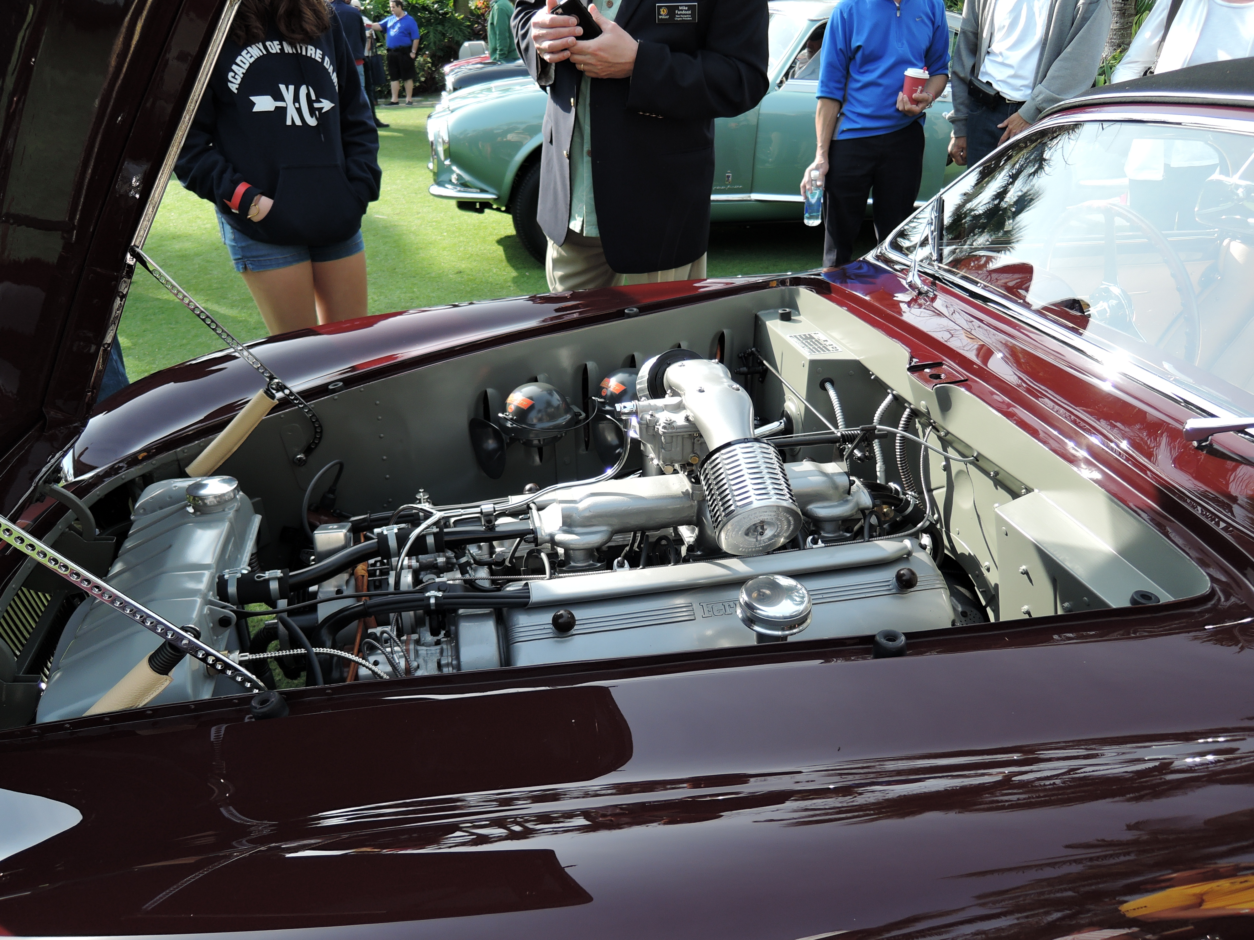 engine of dark red 1951 Ferrari 212 Export Vignale; S/n 0110 E - Cavallino 2017 Concorso d'Eleganza