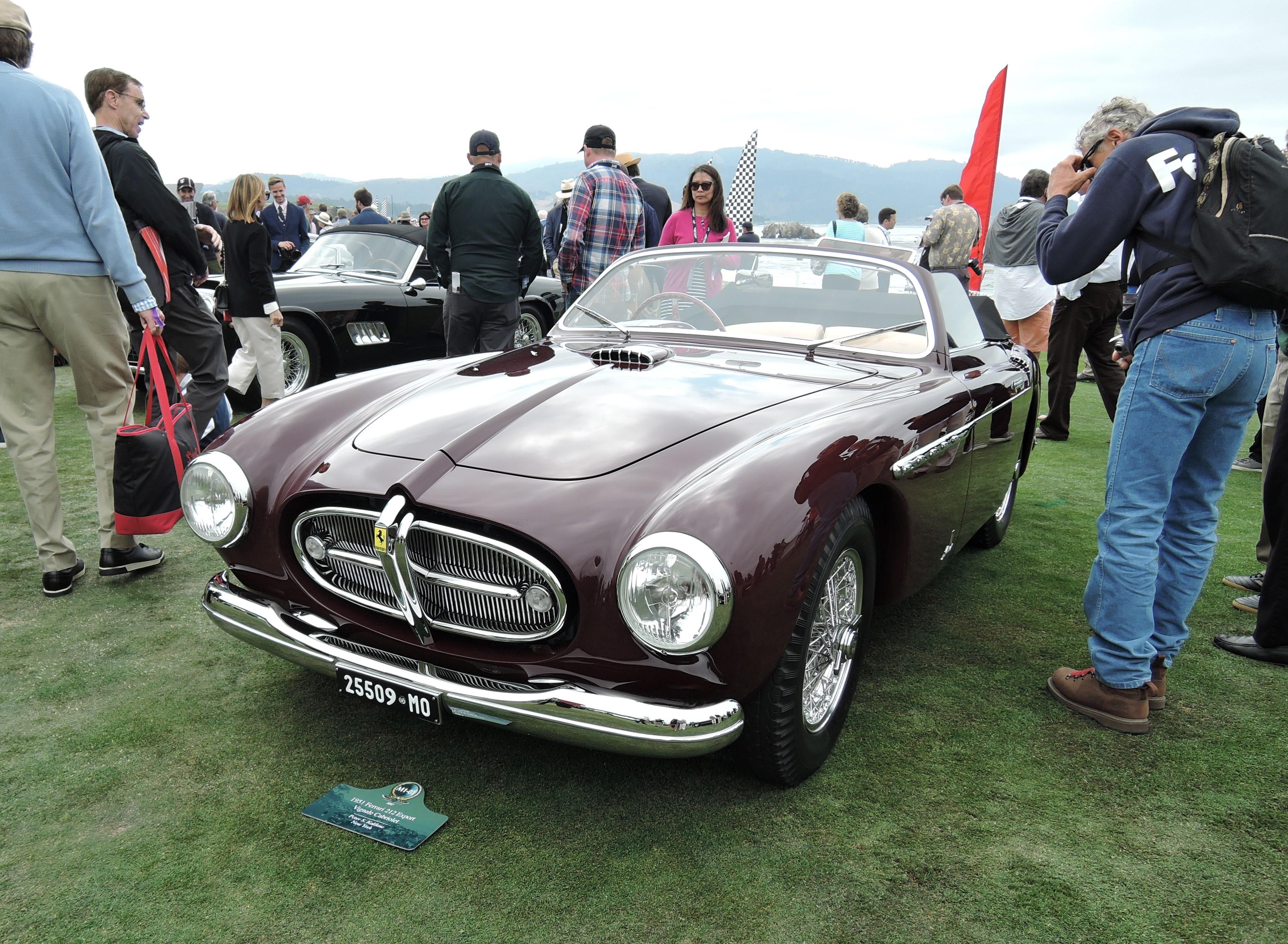 dark red 1951 Ferrari 212 Export Vignale Cabriolet; Sn 0110E - Pebble Beach Concours d'Elegance 2017