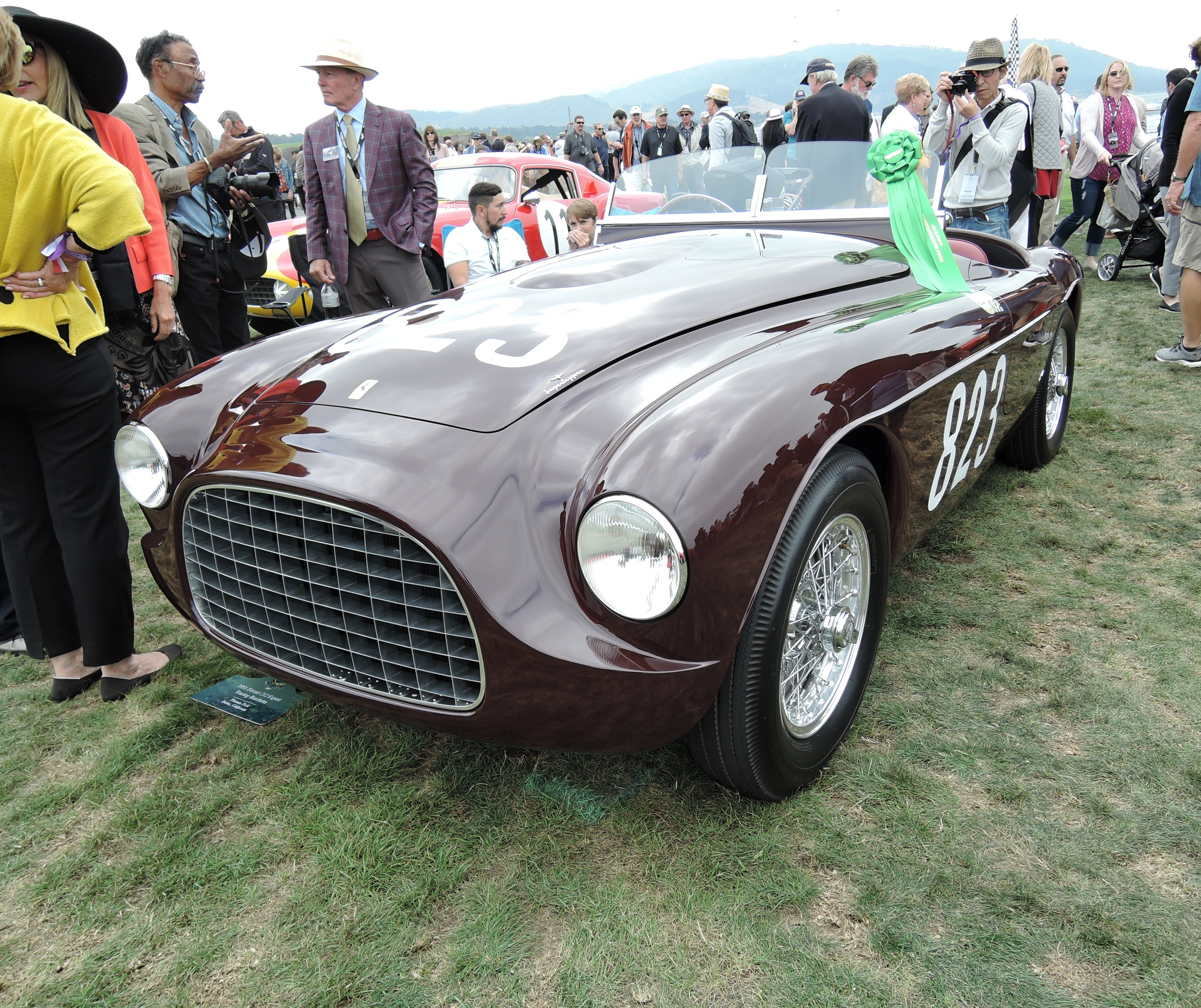 dark red 1951 Ferrari 212 Export Touring Barchetta; Sn 0102E - Pebble Beach Concours d'Elegance 2017