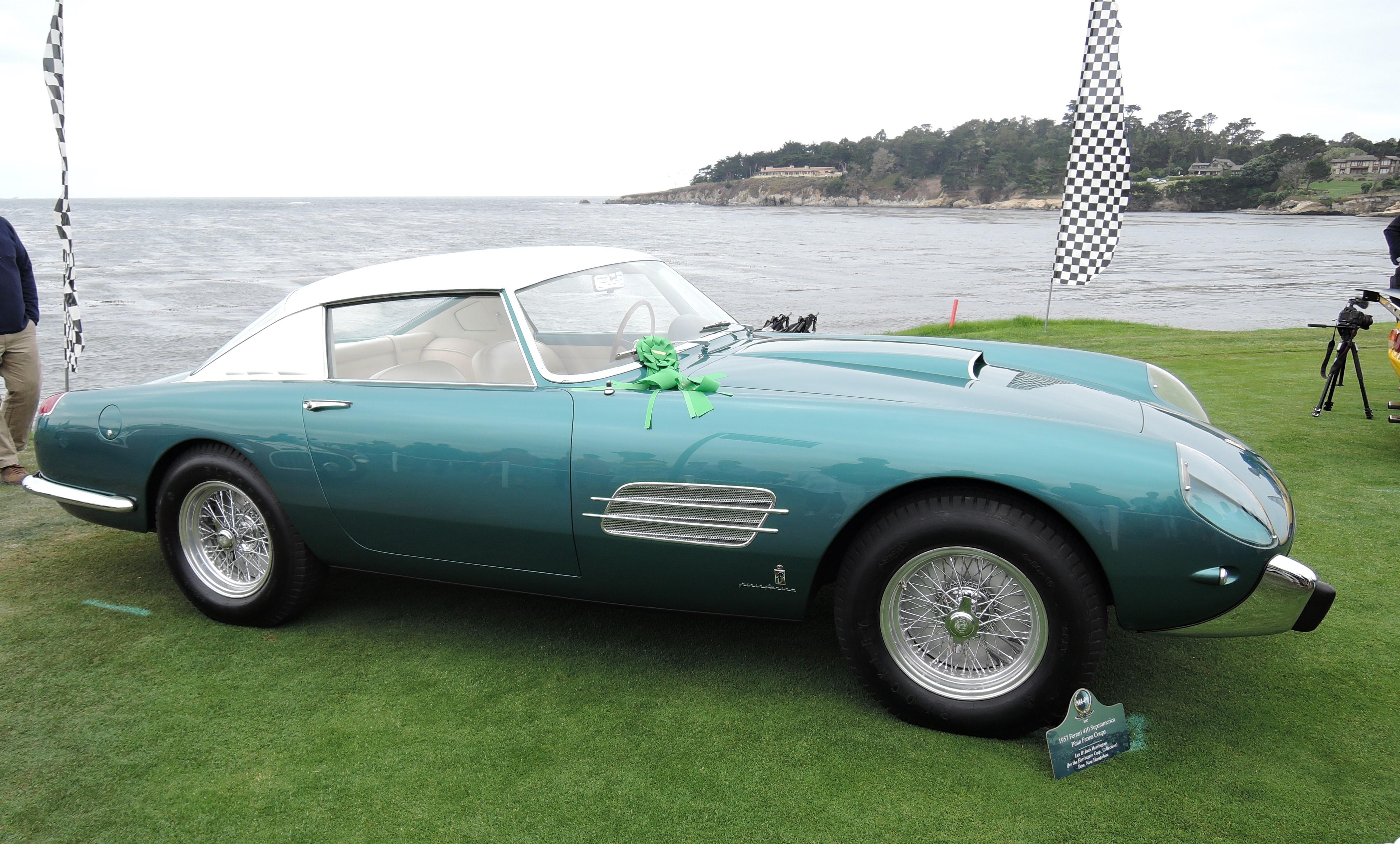 teal 1957 Ferrari 410 Superamerica Pinin Farina Coupe Sn 0719SA- Pebble Beach Concours d'Elegance 2017