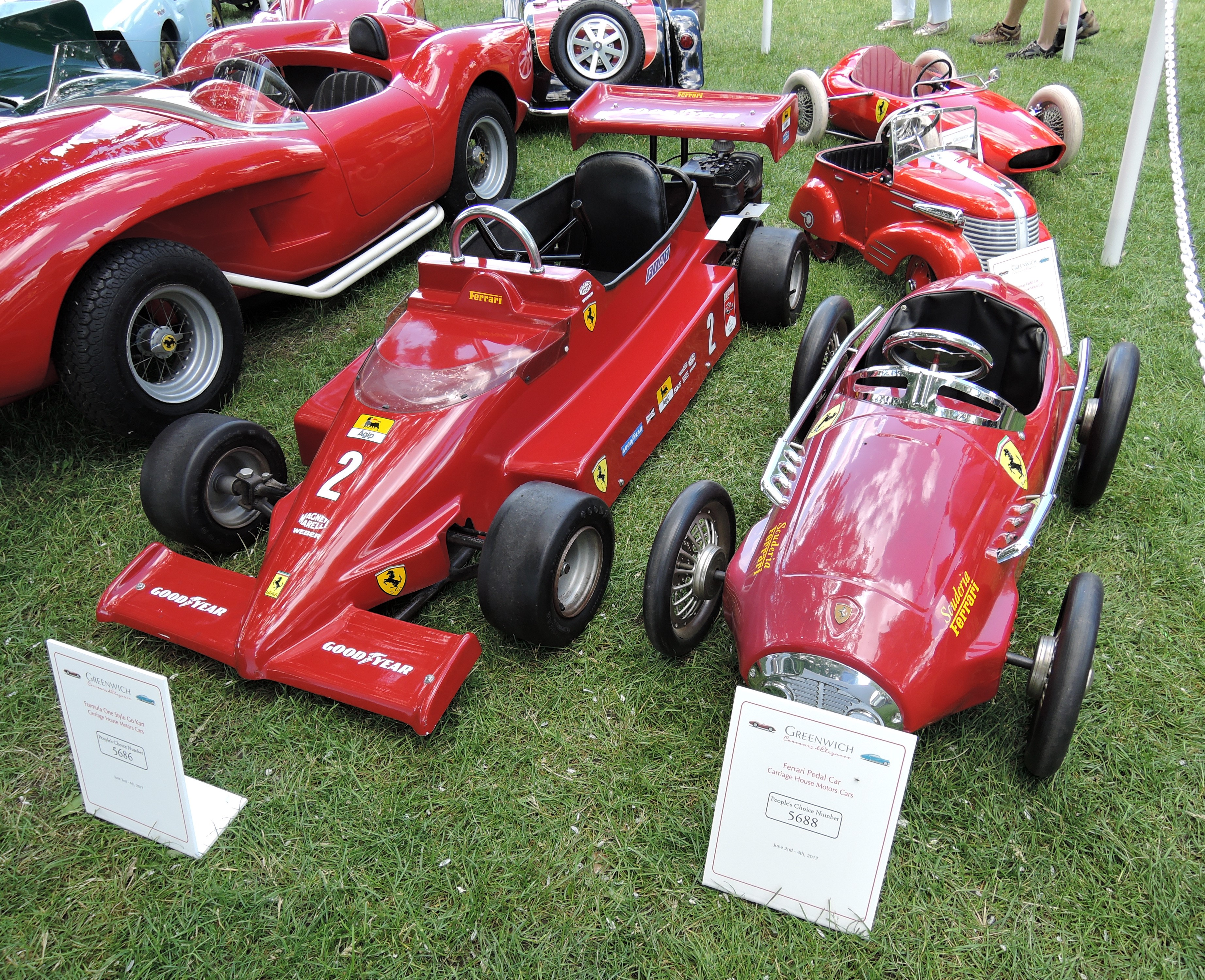 red A Formula One Style Go Kart and Ferrari Pedal Car - Greenwich Concours d'Elegance 2017