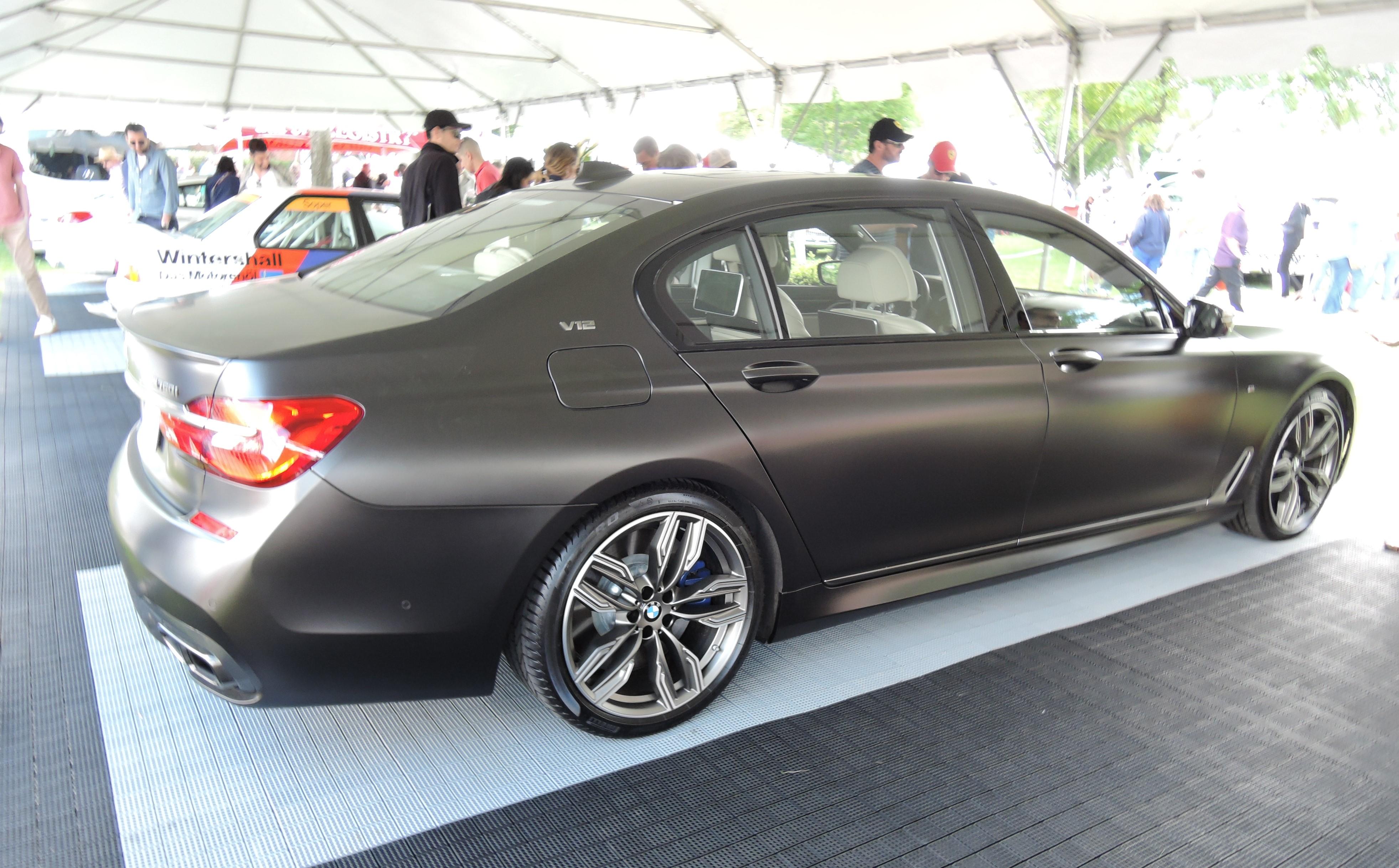 flat black 2017 BMW M760I sedan - Greenwich Concours d'Elegance 2017