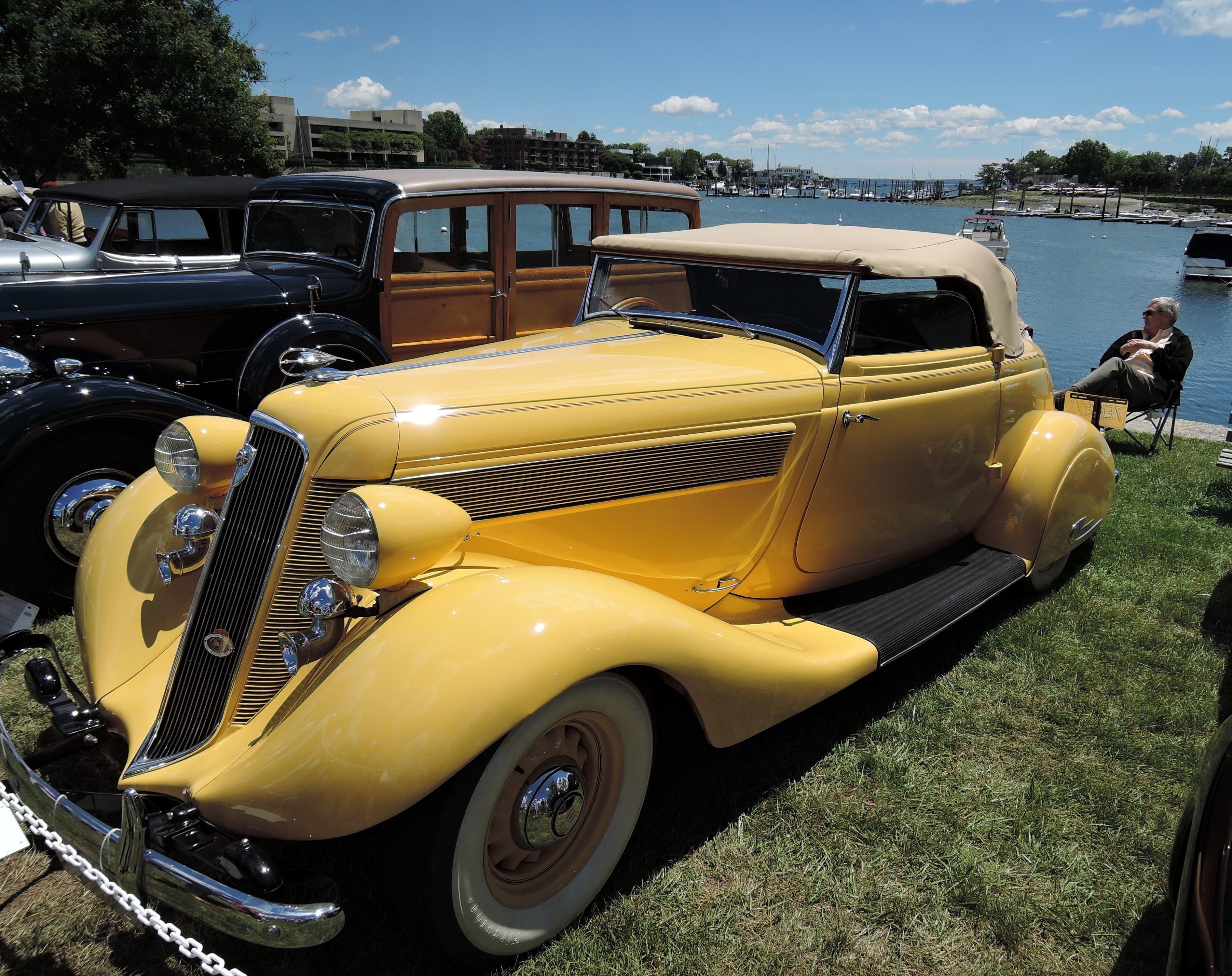 yellow 1935 Studebaker Commander Roadster - Greenwich Concours d'Elegance 2017