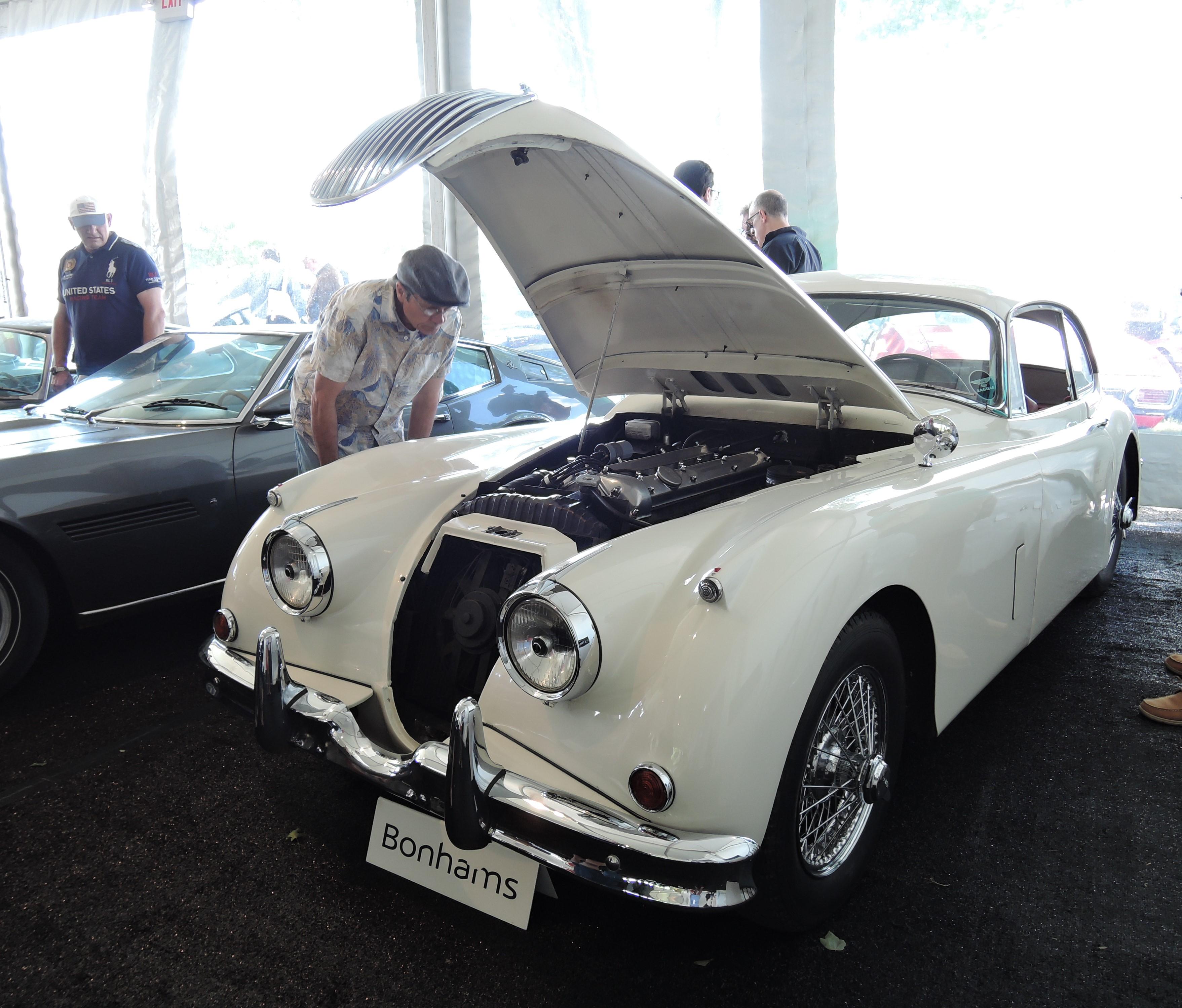 bonhams white 1957 Jaguar XK150 3.4 Fixed Head Coupe - Greenwich Concours d'Elegance 2017
