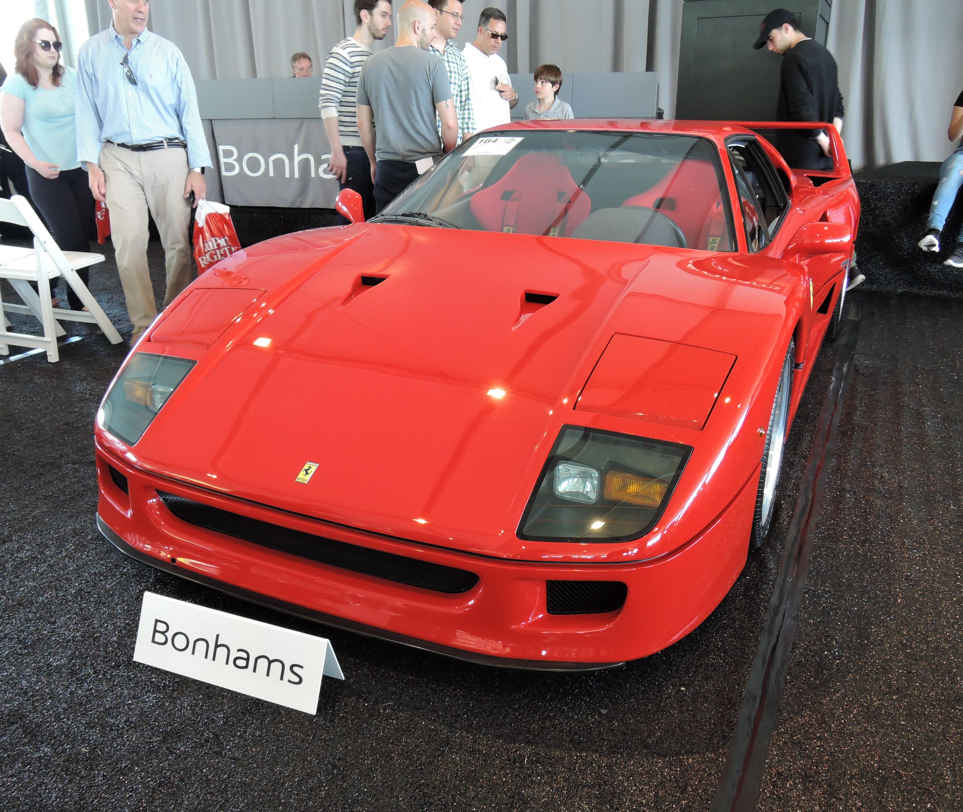 bonhams red 1990 Ferrari F40; est. $875-975K - Greenwich Concours d'Elegance 2017