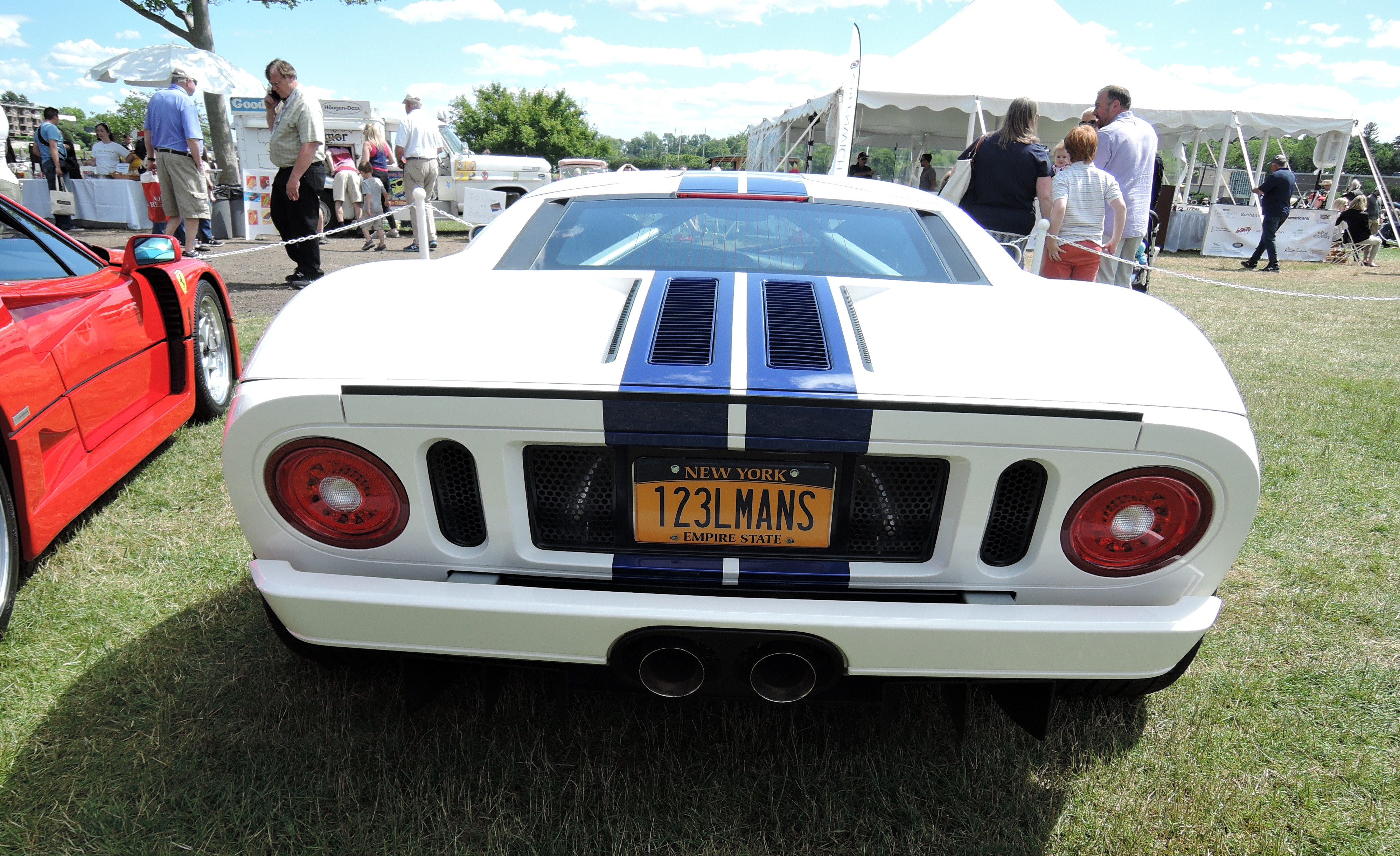 white/blue 2005 Ford GT123 LMANS plate - Greenwich Concours d'Elegance 2017