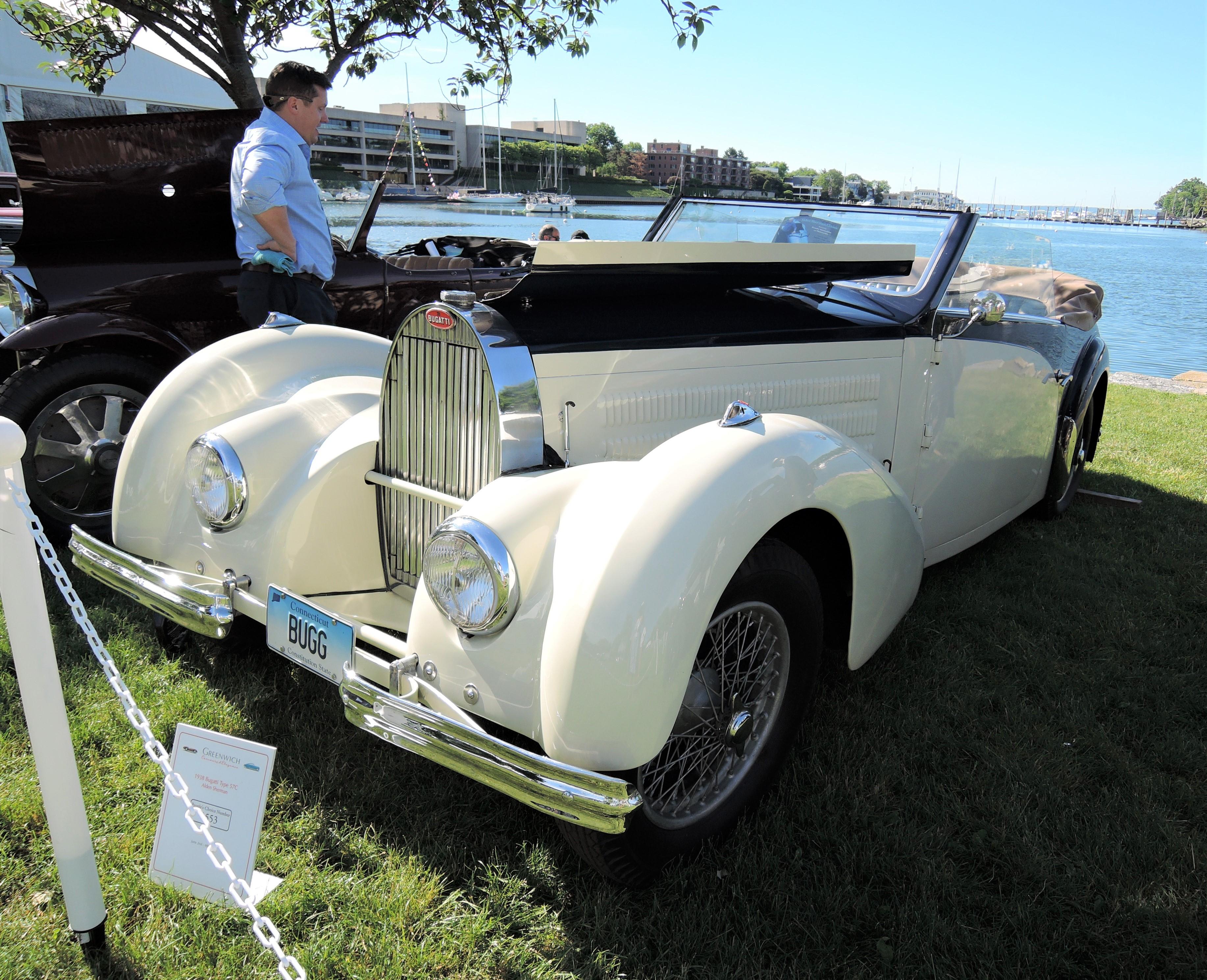 white 1938 Bugatti Type 57C - Greenwich Concours d'Elegance 2017