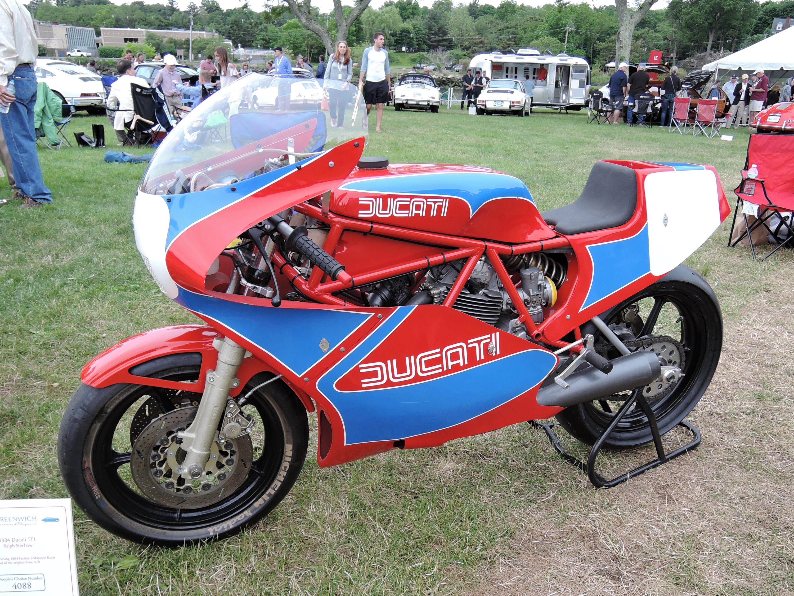 red/blue 1984 Ducati TT1 - Greenwich Concours d'Elegance 2017