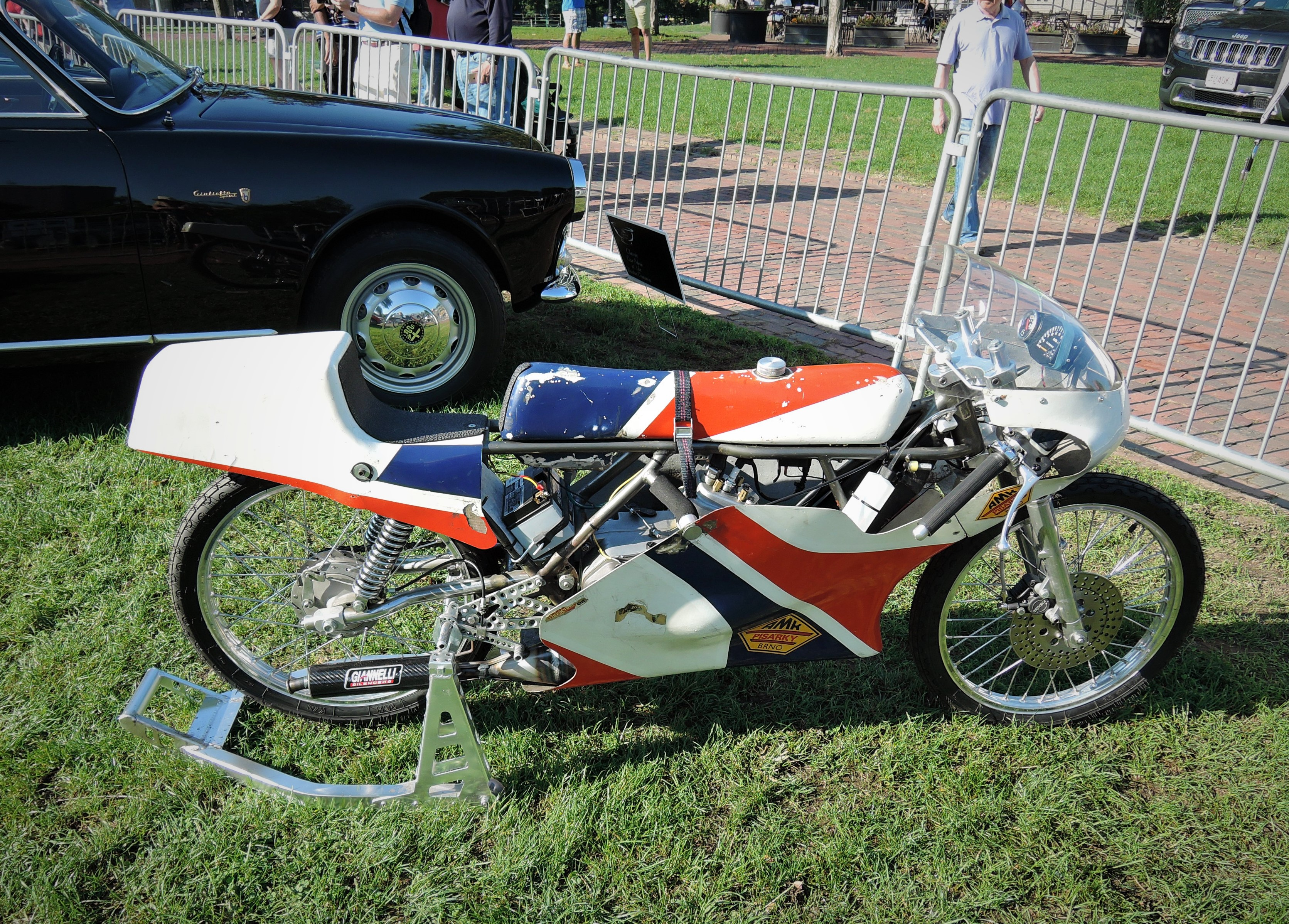 orange/white/blue 1974 CZ - Minarelli 50 GP motorcycle - The Boston Cup 2017