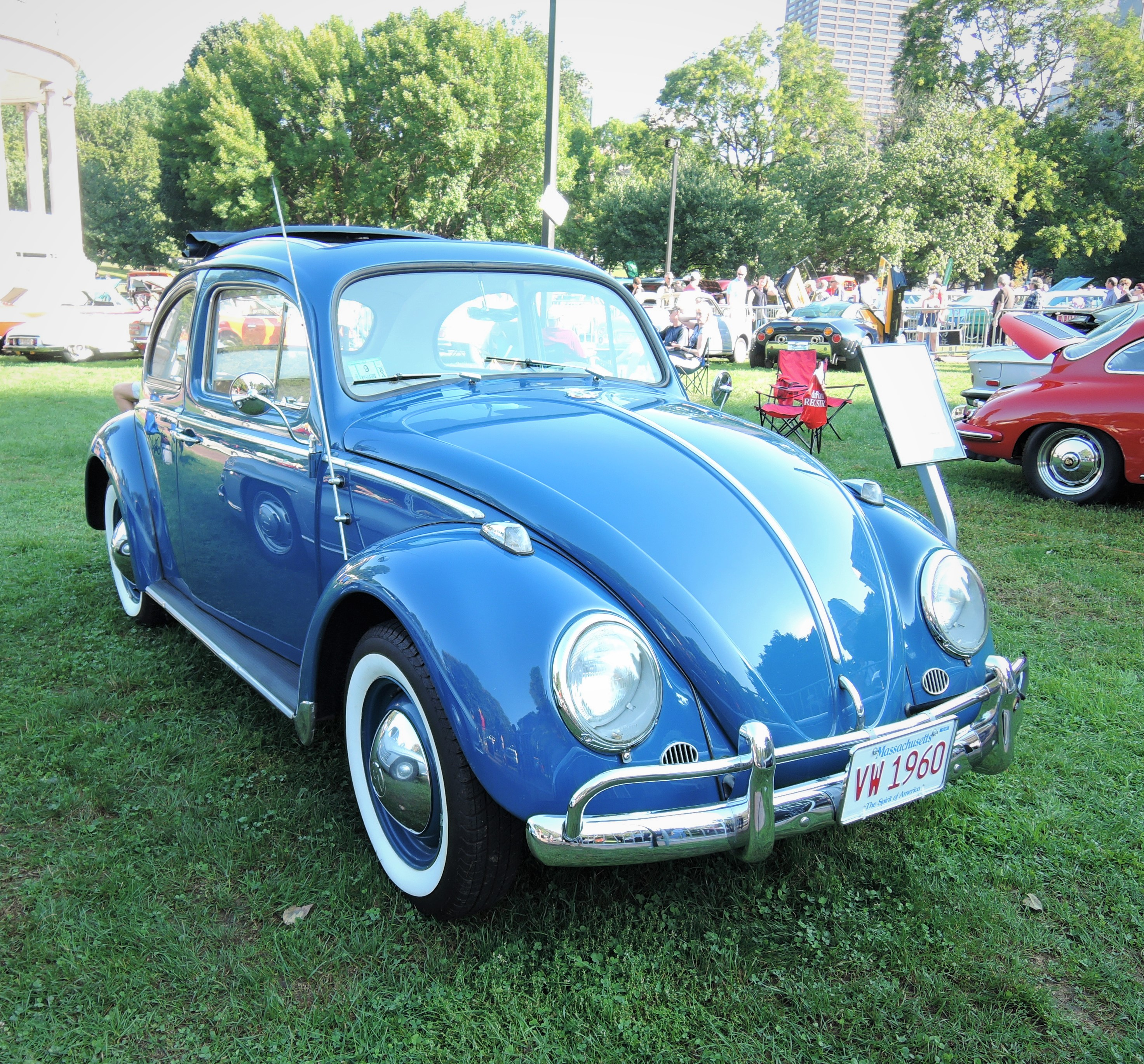 blue 1960 Volkswagen Beetle Sunroof Sedan - The Boston Cup 2017