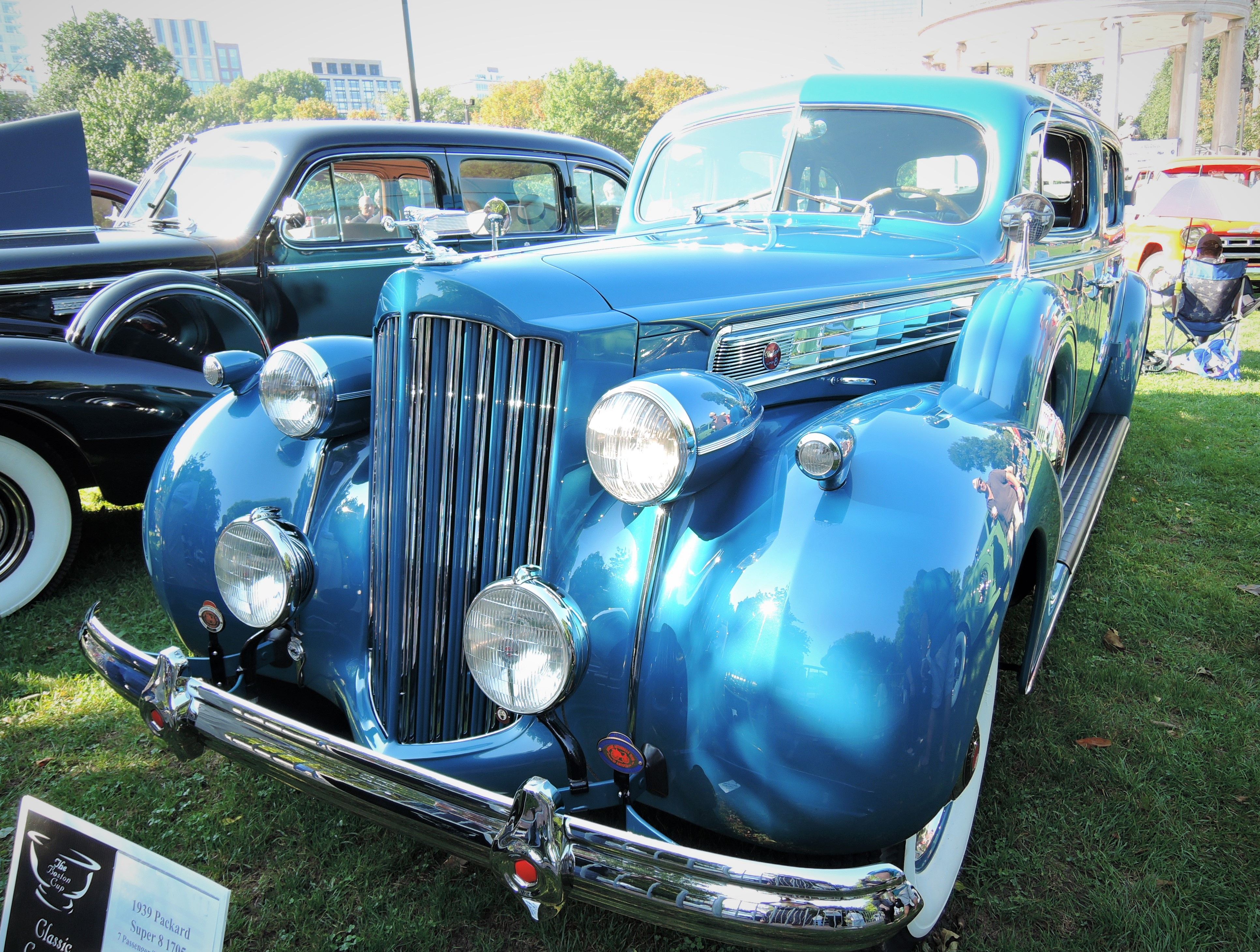 blue 1939 Packard Super 8 1705 7-passenger Touring Sedan - The Boston Cup 2017