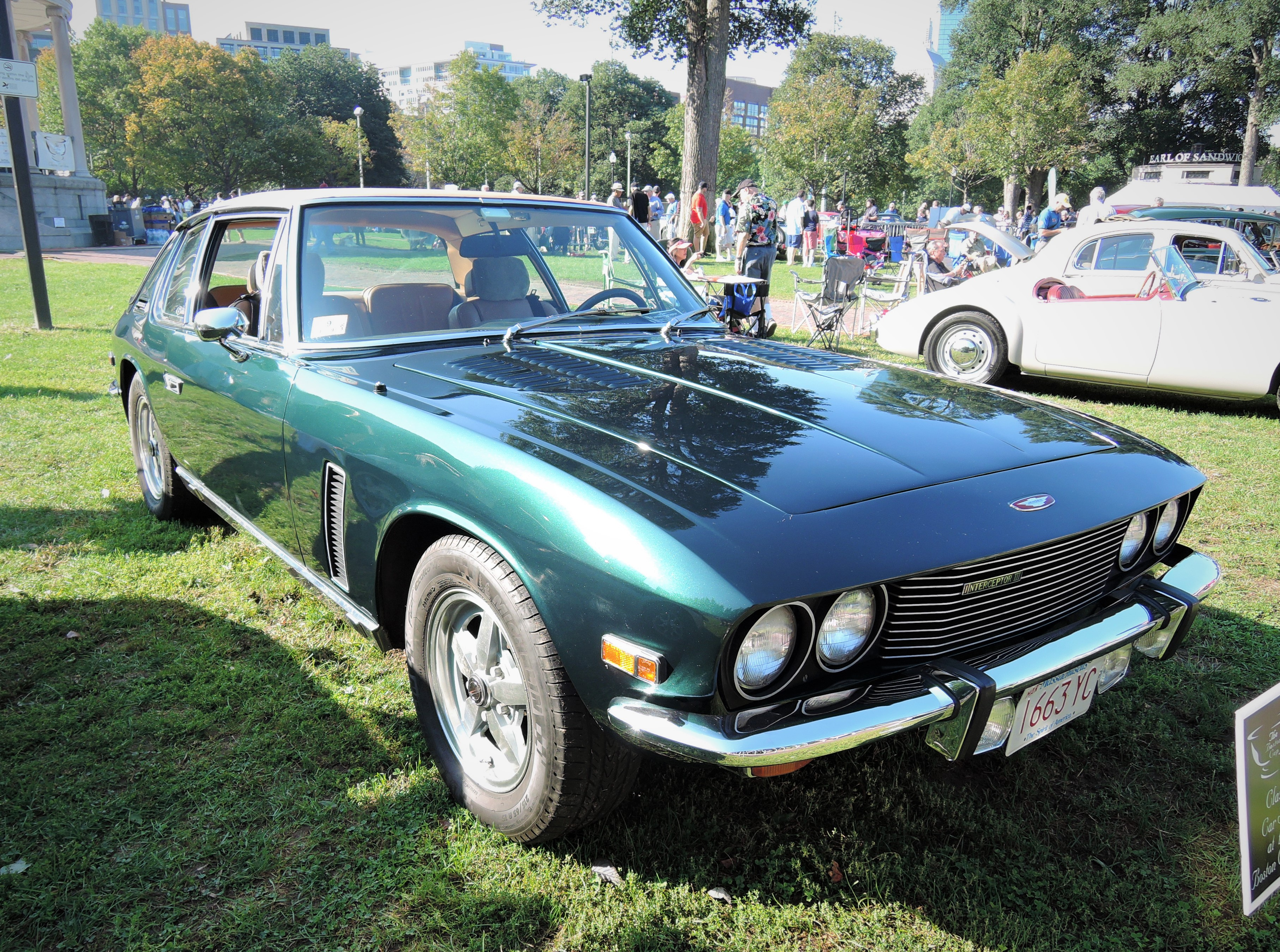 green 1974 Jensen Interceptor III - The Boston Cup 2017