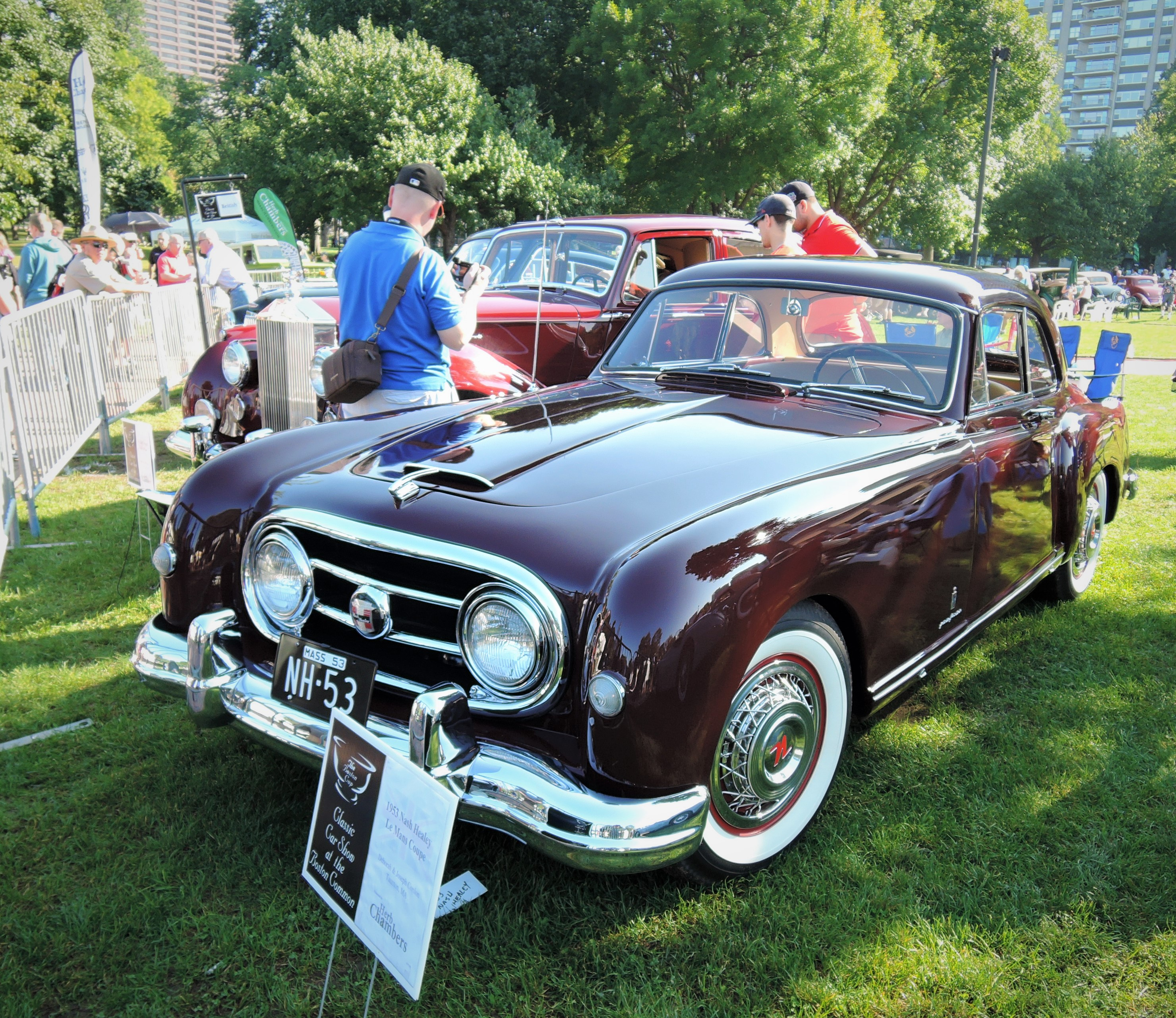 dark red 1953 Nash Healey Le Mans Coupe - The Boston Cup 2017