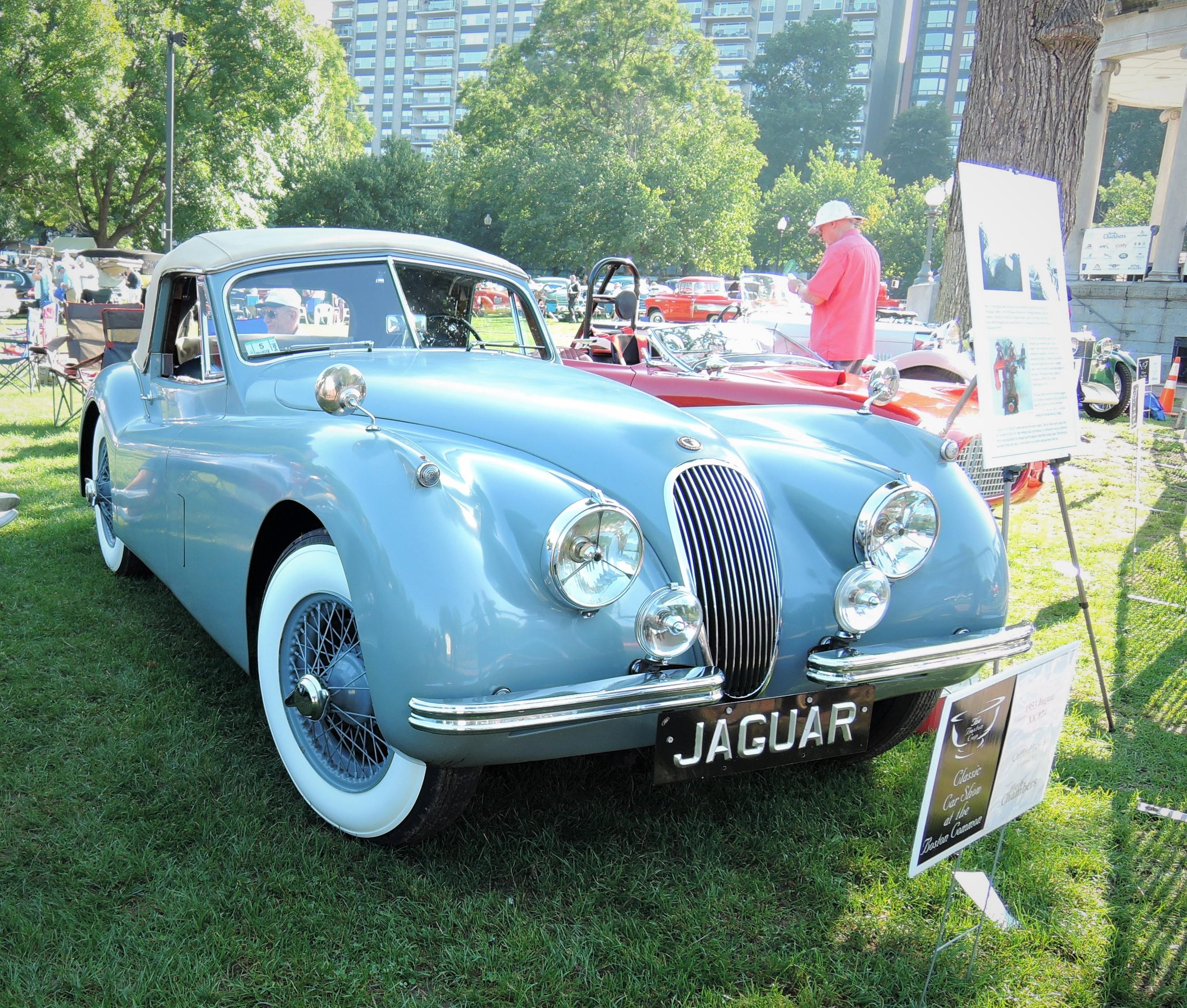 blue 1953 Jaguar XK 120 - The Boston Cup 2017