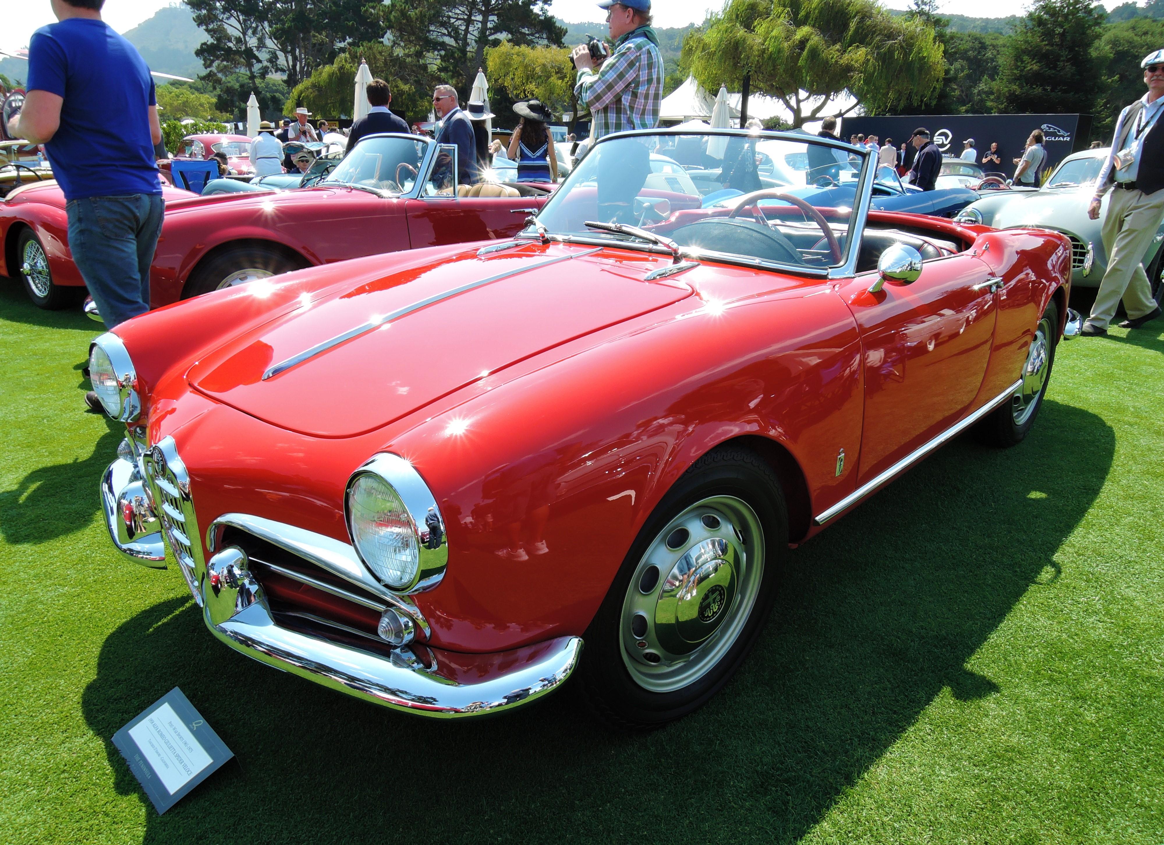 red 1958 Alfa Romeo Giulietta Spider Veloce - The Quail 2017