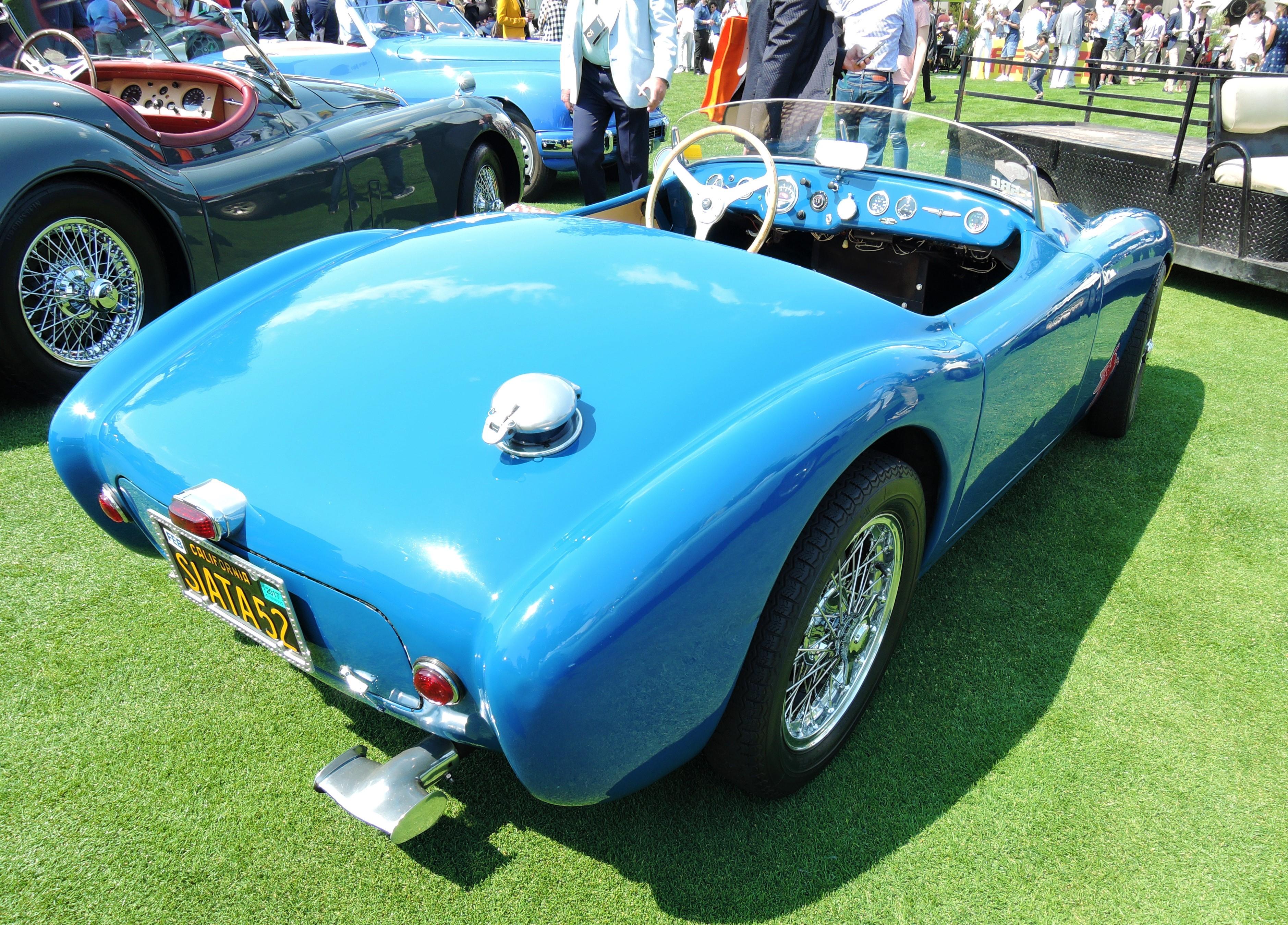 blue 1952 Siata 300BC Barchetta Sport Spider - The Quail 2017