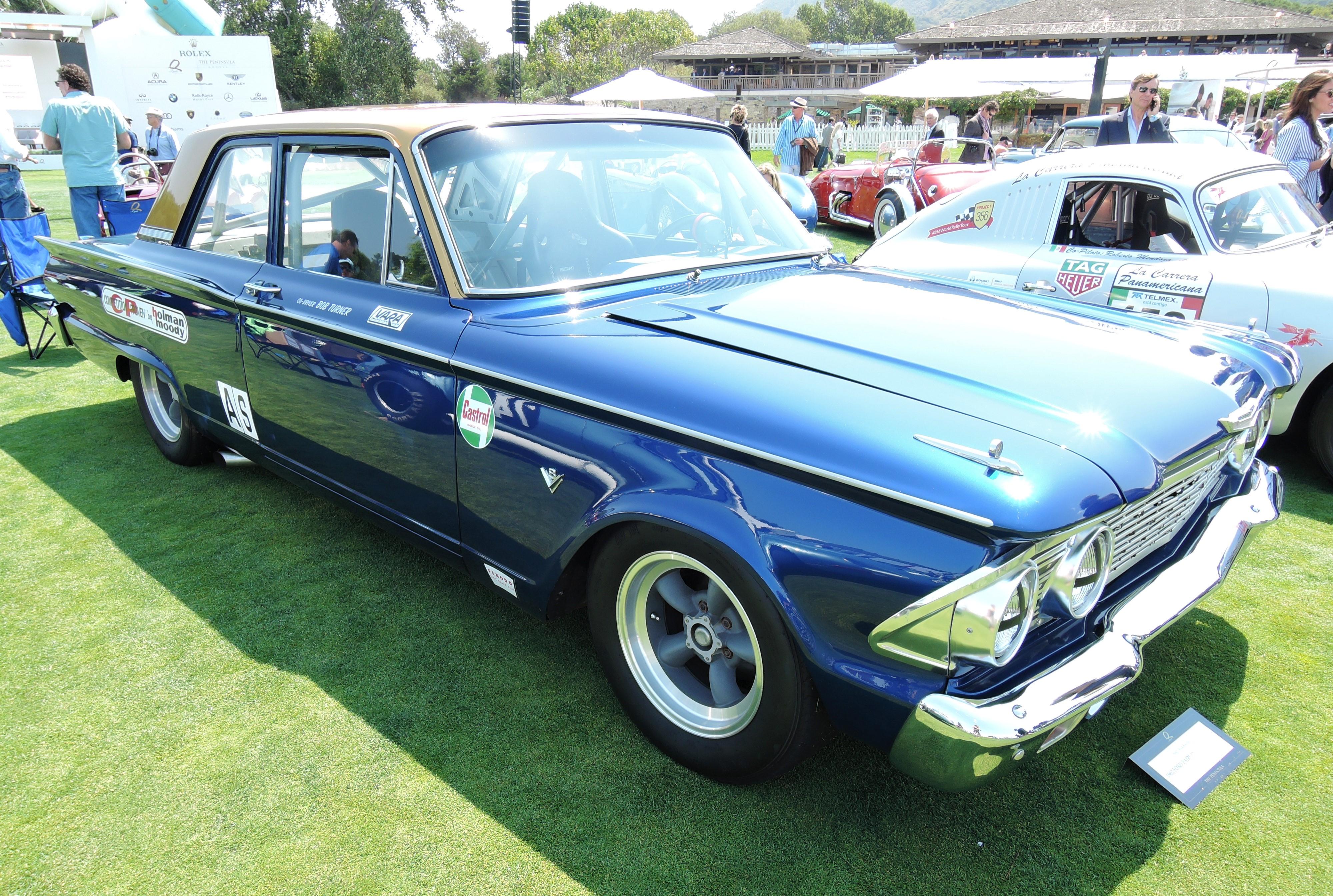 blue 1962 Ford Fairlane 500 A Sedan Race Car - The Quail 2017