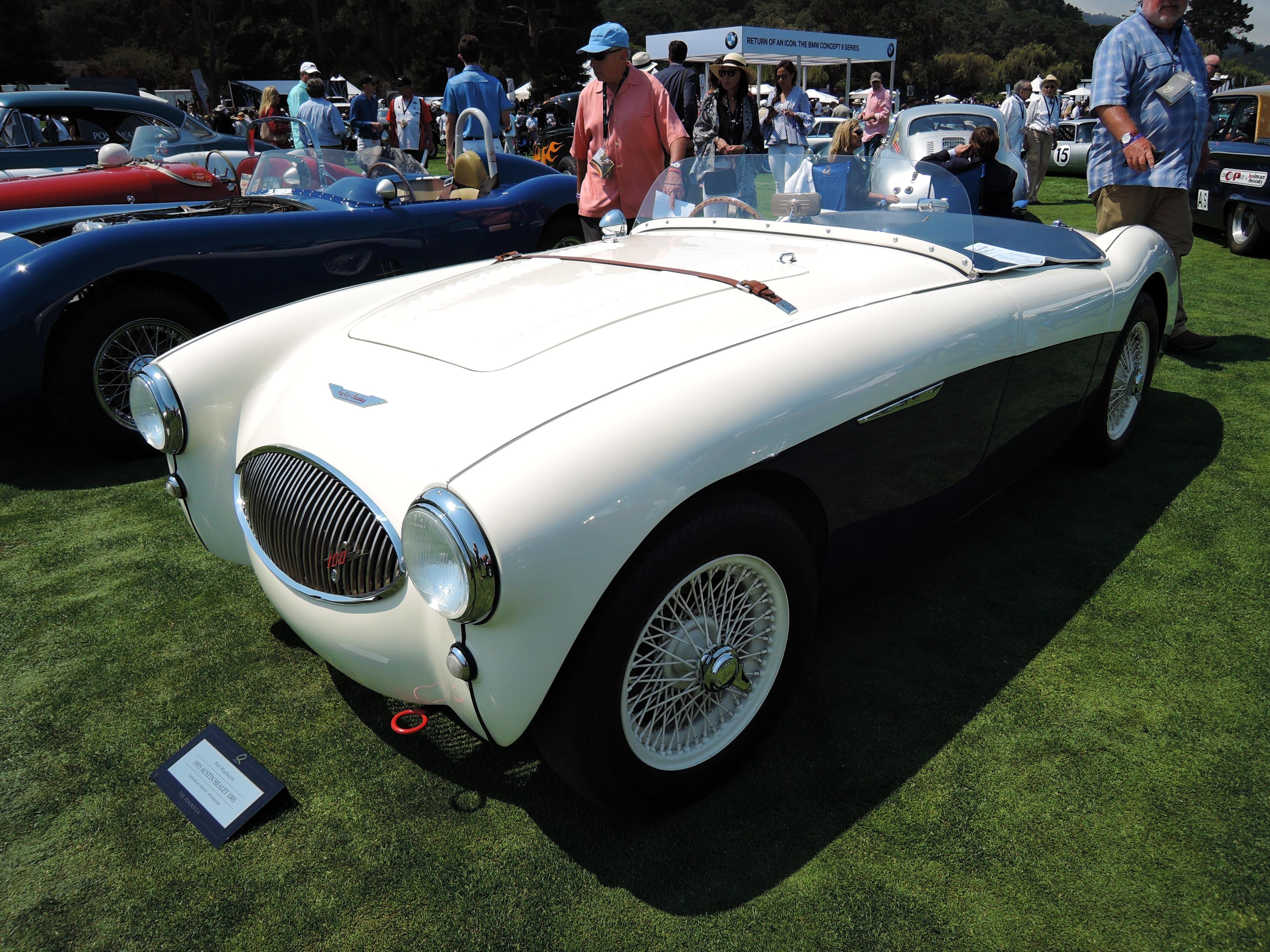 white/blue 1955 Austin Healey 100S - The Quail 2017