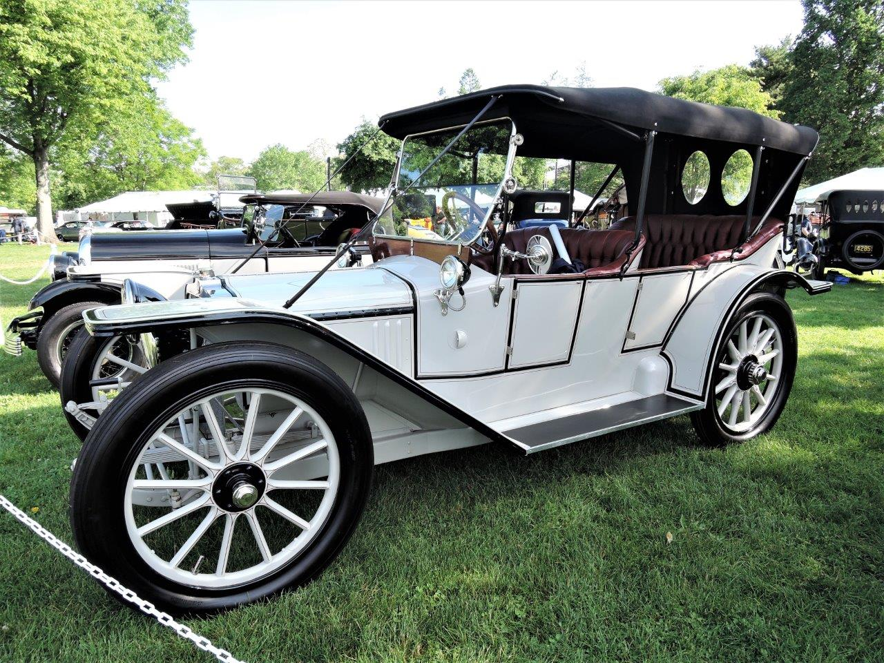white 1913 American Underslung owned by Wayne Carini of Chasing Classic Cars - 2018 Greenwich Concours Americana