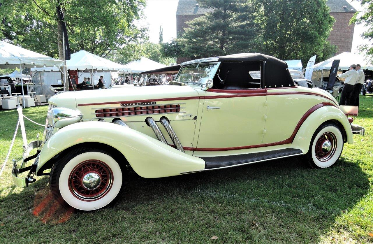 cream yellow 1935 Auburn 851 Supercharged Cabriolet - 2018 Greenwich Concours Americana