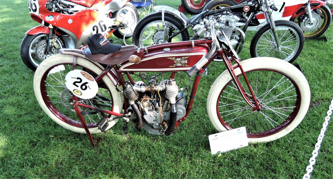 red 1916 Excelsior Twin Board Track Racer Motorcycle - 2018 Greenwich Concours Americana