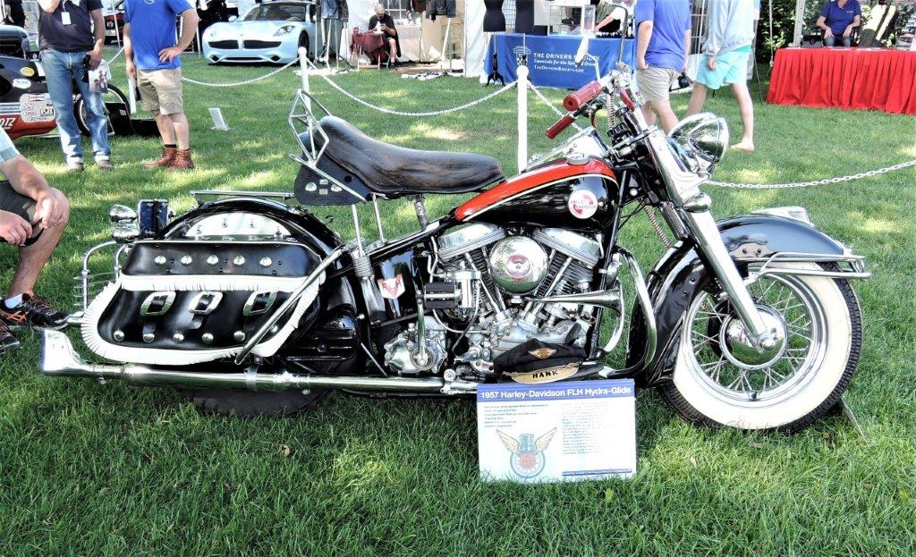 black/red 1957 Harley-Davidson FLH Motorcycle - 2018 Greenwich Concours Americana