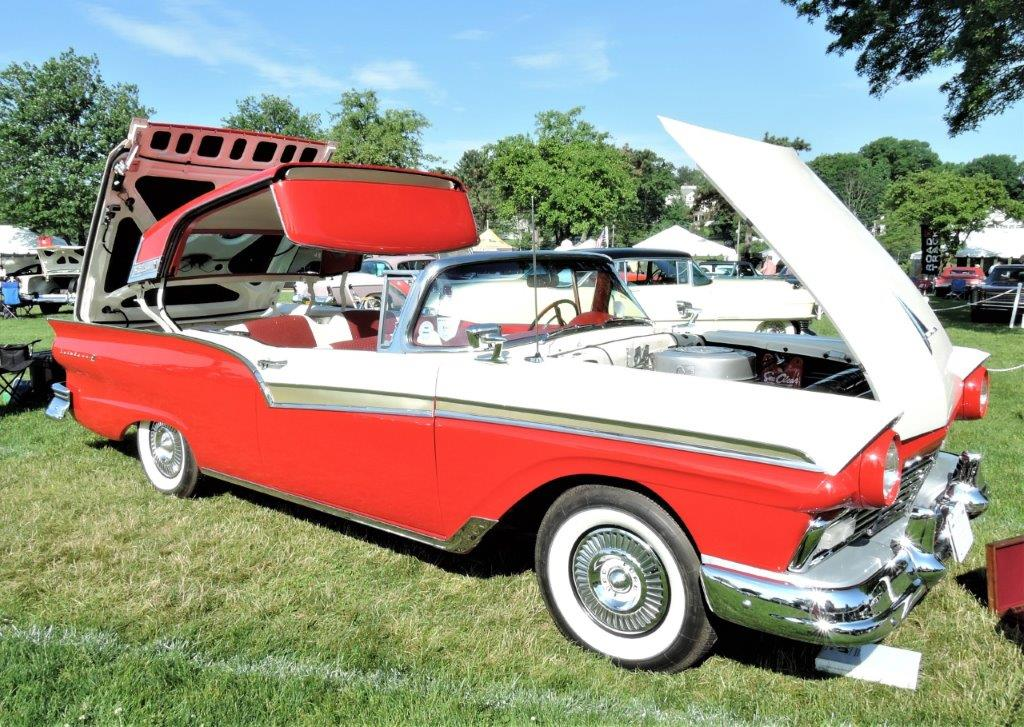 red/white 1957 Ford Skyliner Retractable Roof Hardtop - 2018 Greenwich Concours Americana
