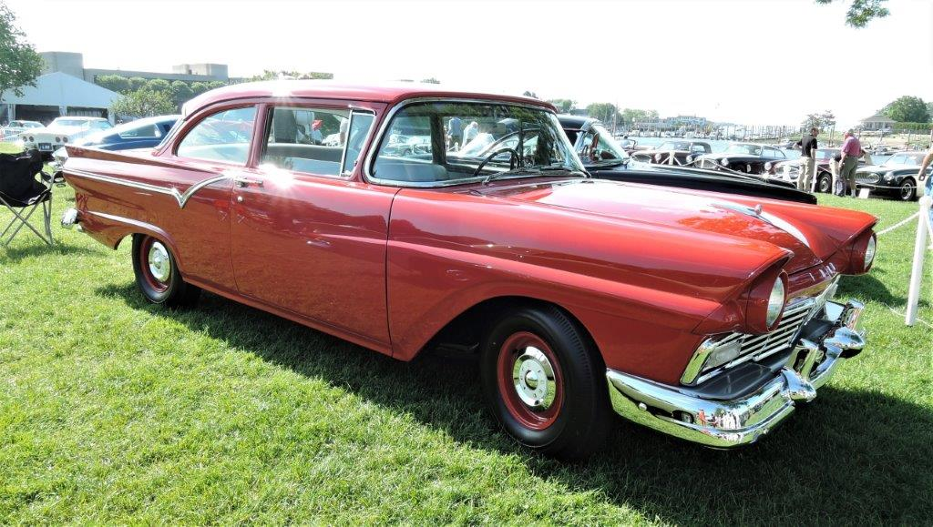 red 1957 Ford Custom D/F - Code - 2018 Greenwich Concours Americana
