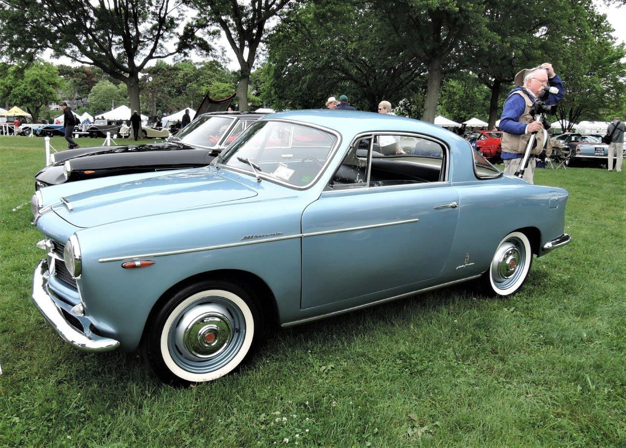 blue 1955 Fiat 100 TV Pininfarina Coupe; - 2018 Greenwich Concours International