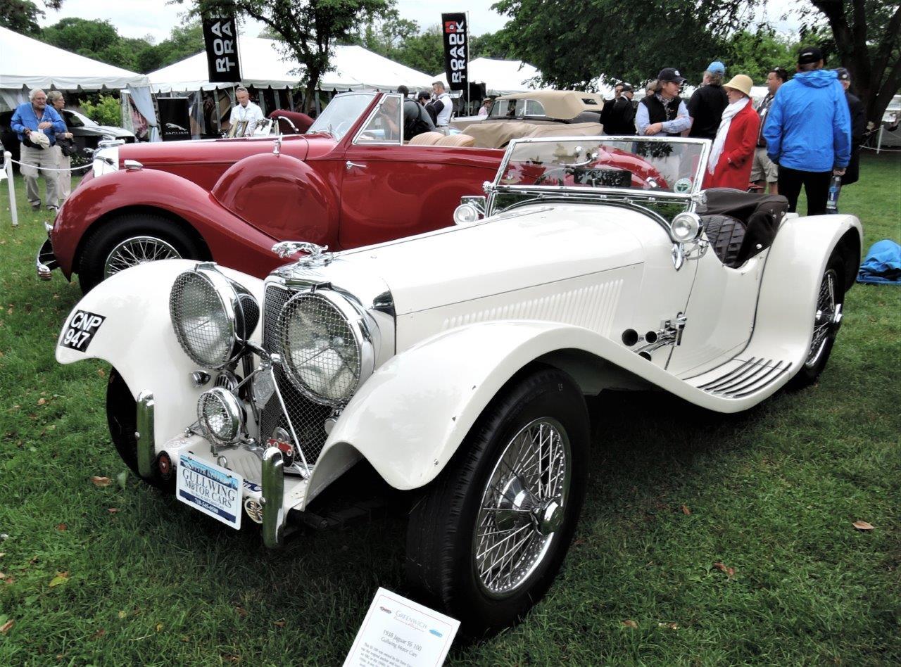 white 1938 Jaguar SS 100 Roadster - 2018 Greenwich Concours International