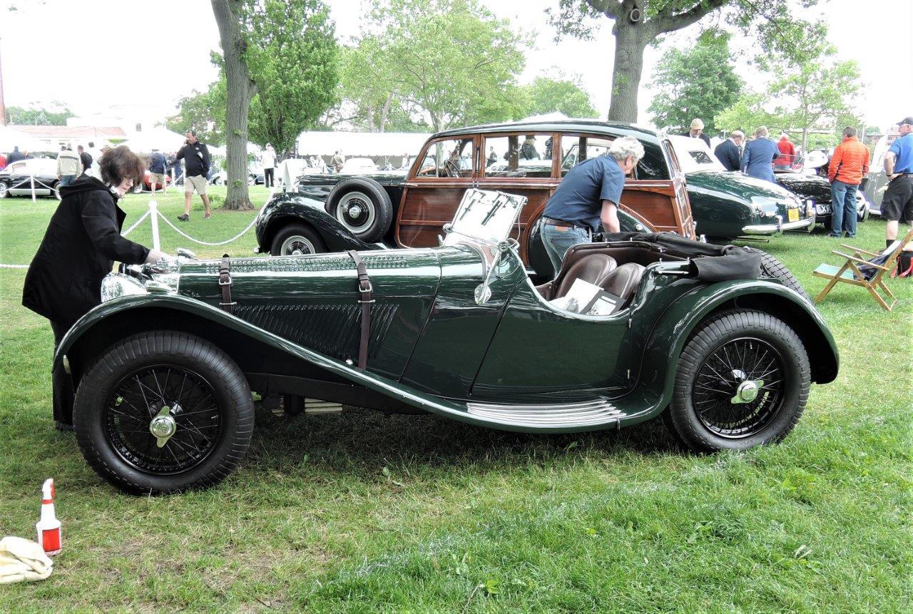 green 1938 Jaguar SS 100 - 2018 Greenwich Concours International