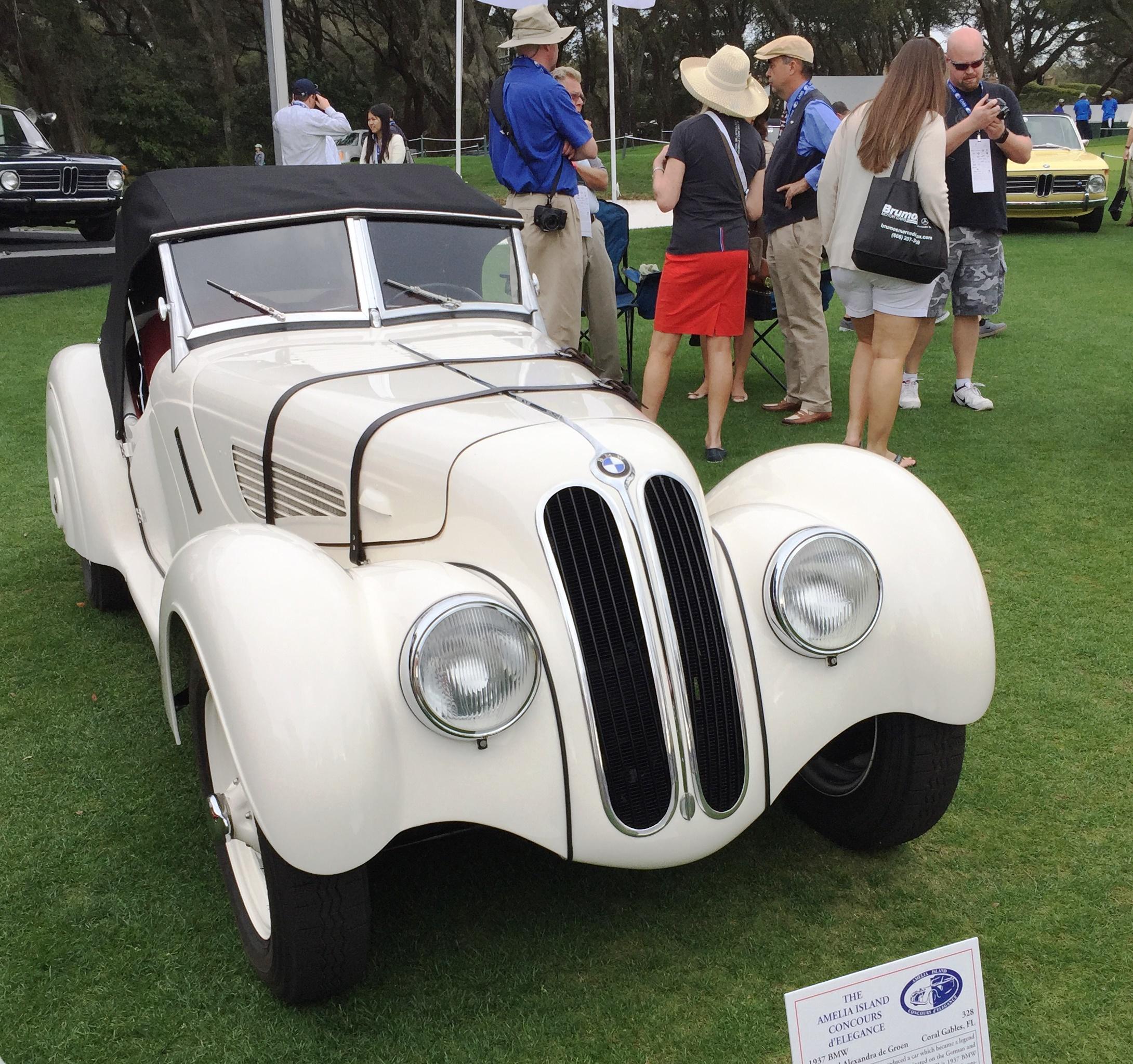 white 1937 BMW 328 - amelia island concours